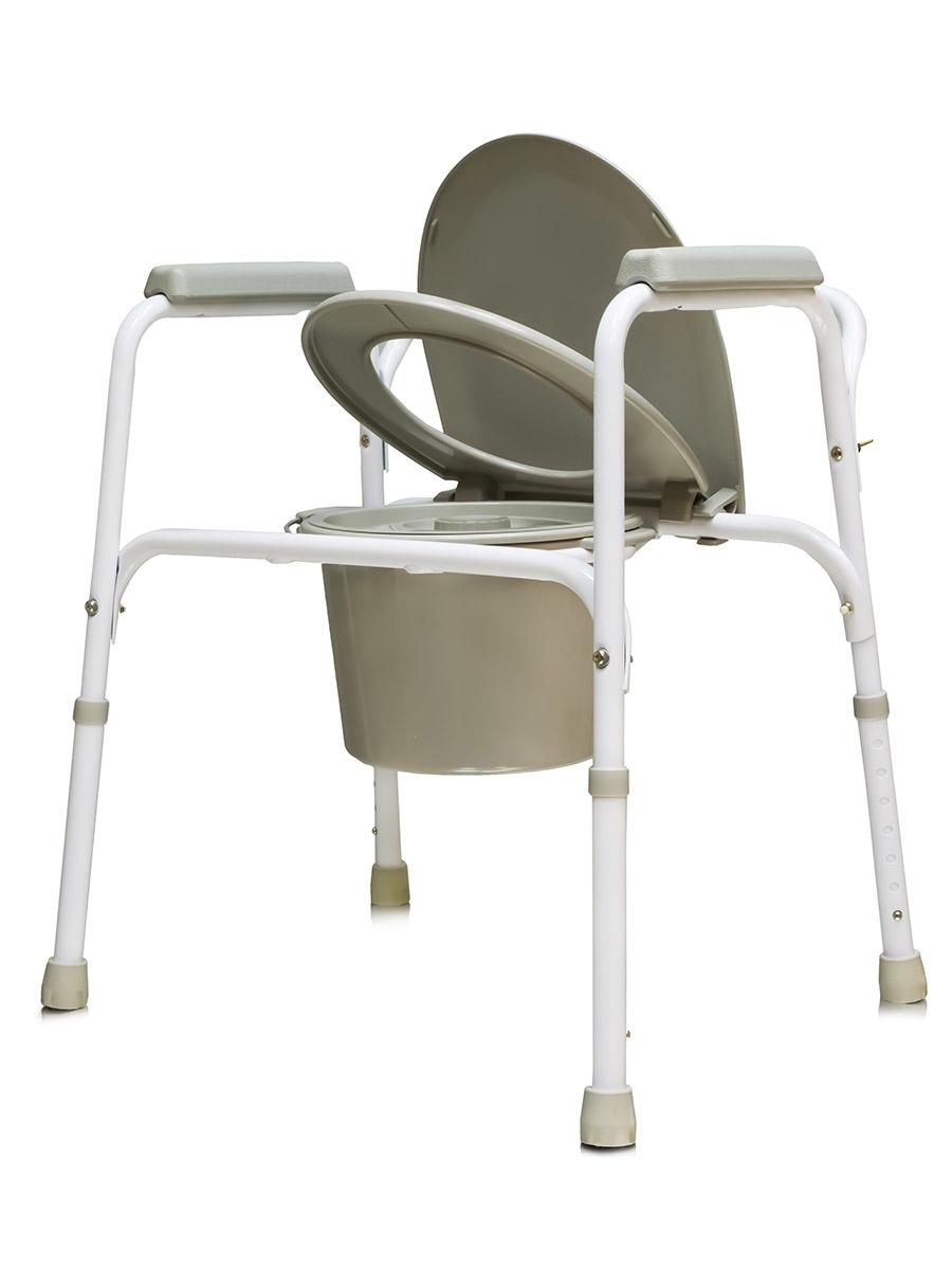 Amrus Кресло-туалет стальное со спинкой, регулируемое по высоте AMCB6803AMCB6803Характеристики: Регулируемая высота сиденья, регулируемые ножки с противоскользящими резиновыми наконечниками;Шаг регулировки 2,5см.;Размеры (ШхГхВ) сиденья от пола 450х440х410- мм.;Максимальная статическая нагрузка 100 кг.; Масса не более 6,0 кг.;Срок службы не менее 5 лет;Срок действия гарантии 12 мес.; Масса не более 5,8 кг.Модель может применяться как кресло-туалет, насадка на унитаз или поручень для унитаза. Рама изготовлена из стали с порошковым напылением.