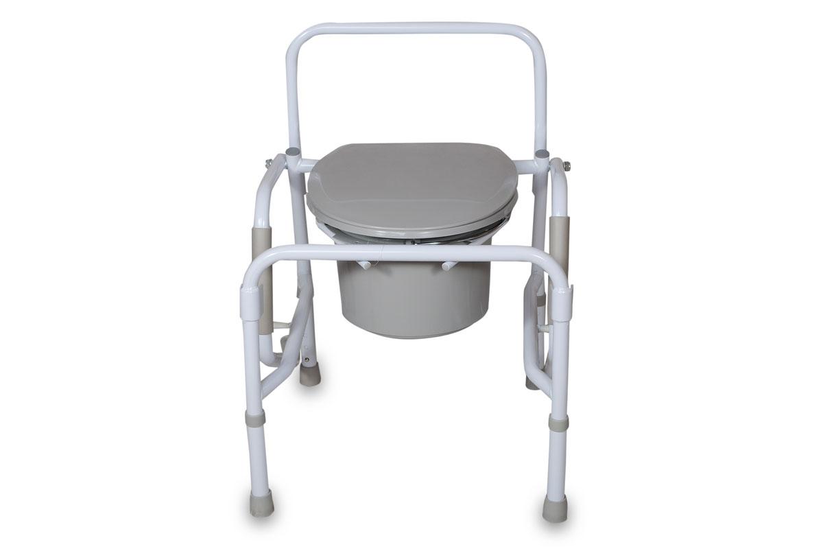 Amrus Кресло-туалет с опускающимися подлокотниками со спинкой, регулируемое по высоте AMCB6807HS730EU-001Характеристики: Регулируемая высота сиденья, регулируемые ножки с противоскользящими резиновыми наконечниками; Шаг регулировки: 2,5 см.;Размеры (ШхГхВ) сиденья от пола 460х480х480-580 мм.; Максимальная статическая нагрузка 100 кг.; Масса кресла-туалета, не более 9,0 кг.Модель оснащена откидными вниз поручнями с мягкими подлокотниками.