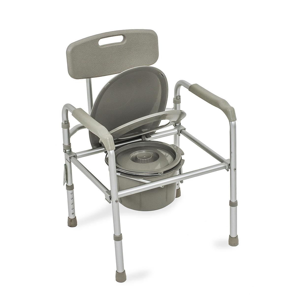 Amrus Кресло-туалет облегченное со спинкой, регулируемое по высоте AMCB680827112015Характеристики: Регулируемая высота сиденья, регулируемые ножки с противоскользящими резиновыми наконечниками;Шаг регулировки: 2,5 см.;Размеры (ШхГхВ) сиденья от пола 420х430х360-460 мм.;Максимальная статическая нагрузка 100 кг.; Срок службы не менее 5 лет; Срок действия гарантии – 12 месяцев с даты продажи; Масса не более 5,4 кг.Cкладная модель с каркасом из алюминия, с пластиковой спинкой.