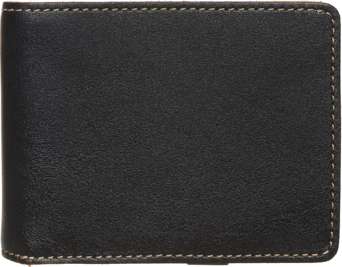 Портмоне мужское Fabula Kansas, цвет: черный. PM.16.TXFINT-06501Стильное мужское портмоне Fabula Kansas изготовлено из натуральной кожи и оформлено контрастной отделочной строчкой.Изделие раскладывается пополам, закрывается на кнопку. Внутри расположены два прорезных потайных кармана, отделение для купюр, отдельный блок на два кармашка для SIM-карт, который закрывается хлястиком на кнопку. Снаружи, на задней стороне изделия, расположен карман для мелочи, закрывающийся на скрытую молнию. Изделие поставляется в фирменной упаковке.Практичное портмоне непременно подойдет к вашему образу и порадует простотой, стилем и функциональностью.