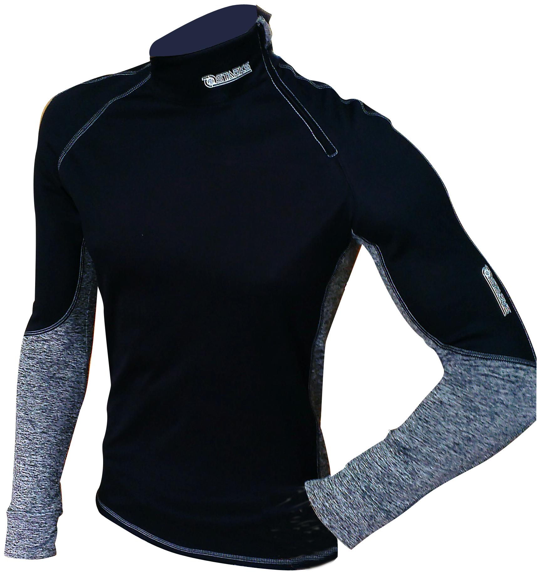 Термобелье кофта Starks Warm Extreme, зимняя, цвет: черный, серый. ЛЦ0012. Размер Lone116Высокотехнологичное термобелье Starks Warm Extreme гарантированно на 100% не пропускает ветер, хорошо тянется и выпускает влагу наружу.Белье рекомендуется для использования не только спортсменам зимних видов спорта, но и парашютистам, мотоциклистам, велосипедистам - всем, кто испытывает дискомфорт при сильном ветре, повышенной влажности. Анатомическое, выполнено из европейской сертифицированной ткани PolarStretch и WindStopper. Высокие эластичные свойства материала позволяют белью максимально повторять индивидуальную анатомию тела. Отличные влагоотводящие свойства, позволяют телу оставаться сухим. Термоизоляционные свойства, позволяют исключить переохлаждение или перегрев. Воротник стойка обеспечивает защиту шеи от холода. Застежка-молния обеспечивает легкое одевание кофты.Особенности: - Stop Bacteria - ткань с ионами серебра, предотвращает образование и развитие бактерий. Исключено образование запаха.-Защита от перегрева или переохлаждения.-Система мягких и плоских швов.-Гипоаллергенно. Состав: 92% полиэстер, 8% эластан.