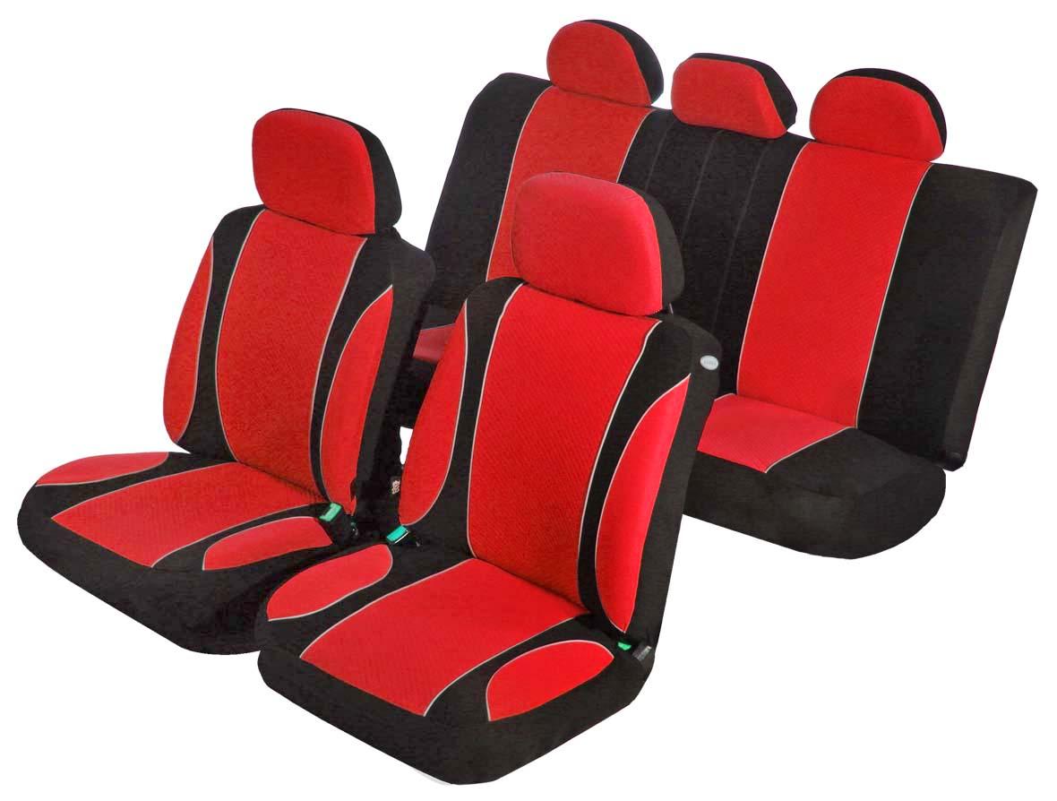 Чехлы на автомобильное кресло Azard Sky Jet, универсальные, 11 предметов, цвет: красныйCA-3505Универсальные чехлы из автомобильного велюра. Применимы для 95% легкового автопарка РФ.Благодаря особому крою типа В чехлы идеально облегают сидения автомобиля. Специальный боковой шов позволяет применять авто чехлы в автомобилях с боковыми подушками безопасности (AIR BAG).Раздельная схема надевания обеспечивает легкую установку авто чехлов. Дополнительное удобство создает наличие предустановленных крючков, утягивающего шнура, фиксирующей липучки на передних спинках, а также предустановленной прорези для установки подголовника.Материал триплирован огнеупорным поролоном 3 мм, за счет чего чехол приобретает дополнительную мягкость и устойчивость к возгоранию.Авточехлы AZARD Велюр Sky Jet износоустойчивы и легко стирается в стиральной машине.