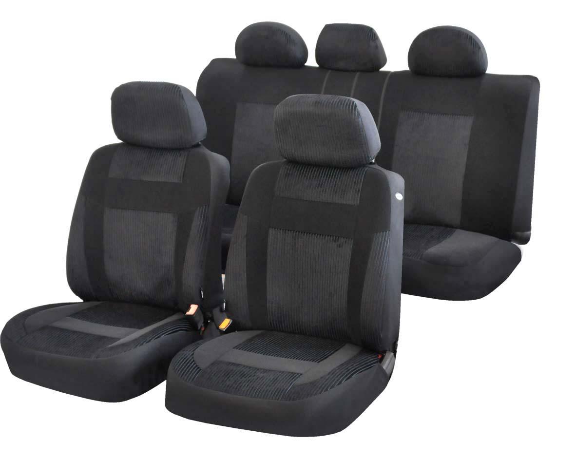 Чехлы на автомобильное кресло Azard Element, универсальыне, 11 предметов, цвет: черныйВетерок 2ГФУниверсальные чехлы из автомобильного велюра. Материал имеет ярко выраженную вельветовую структуру. Применимы для 95% легкового автопарка РФ.Благодаря особому крою типа «В» чехлы идеально облегают сидения автомобиля. Специальный боковой шов позволяет применять авто чехлы в автомобилях с боковыми подушками безопасности (AIR BAG).Раздельная схема надевания обеспечивает легкую установку авто чехлов. Дополнительное удобство создает наличие предустановленных крючков, утягивающего шнура, фиксирующей липучки на передних спинках, а также предустановленной прорези для установки подголовника.Материал триплирован огнеупорным поролоном 3 мм, за счет чего чехол приобретает дополнительную мягкость и устойчивость к возгоранию.Авточехлы AZARD Велюр Element износоустойчивы и легко стирается в стиральной машине.