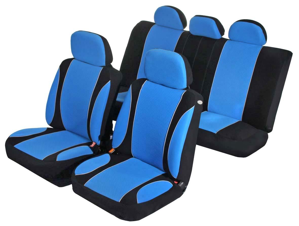 Чехлы на автомобильное кресло Azard Sky Jet, универсальные, 11 предметов, цвет: синийCA-3505Универсальные чехлы из автомобильного велюра. Применимы для 95% легкового автопарка РФ.Благодаря особому крою типа «В» чехлы идеально облегают сидения автомобиля. Специальный боковой шов позволяет применять авто чехлы в автомобилях с боковыми подушками безопасности (AIR BAG).Раздельная схема надевания обеспечивает легкую установку авто чехлов. Дополнительное удобство создает наличие предустановленных крючков, утягивающего шнура, фиксирующей липучки на передних спинках, а также предустановленной прорези для установки подголовника.Материал триплирован огнеупорным поролоном 3 мм, за счет чего чехол приобретает дополнительную мягкость и устойчивость к возгоранию.Авточехлы AZARD Велюр Sky Jet износоустойчивы и легко стирается в стиральной машине.