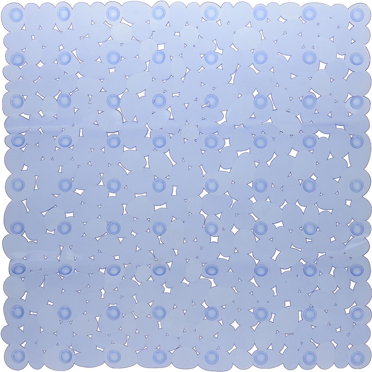 Коврик для ванной Axentia Галька, противоскользящий, на присосках, цвет: синий, 52 х 52 смSAVONA 11402/8C CHROME, GREYКвадратный коврик для ванной Axentia Галька изготовлен из ПВХ. Это прочный противоскользящий материал, который отлично подойдет для помещений с повышенной влажностью. Коврик противоскользящий, поэтому его удобно использовать в душевой кабине или ванне. Крепится к поверхности при помощи на присосок. Легко моется и не оставляет следов.