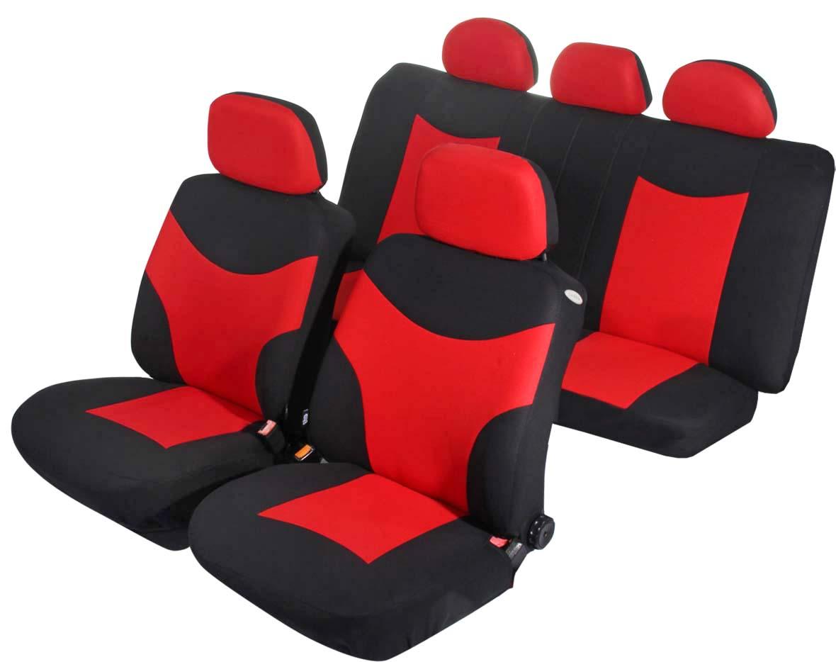 Чехлы на автомобильное кресло Azard Runner, универсальные, 11 предметов, цвет: красныйS3010201Универсальные чехлы из плотного полиэстера. Применимы для 95% легкового автопарка РФ.Благодаря особому крою типа «В» чехлы идеально облегают сидения автомобиля. Специальный боковой шов позволяет применять авто чехлы в автомобилях с боковыми подушками безопасности (AIR BAG).Раздельная схема надевания обеспечивает легкую установку авто чехлов. Дополнительное удобство создает наличие предустановленных крючков, утягивающего шнура, фиксирующей липучки на передних спинках, а также предустановленной прорези для установки подголовника.Материал триплирован огнеупорным поролоном 3 мм, за счет чего чехол приобретает дополнительную мягкость и устойчивость к возгоранию.Авточехлы Azard Полиэстер Runner износоустойчивы и легко стирается в стиральной машине.