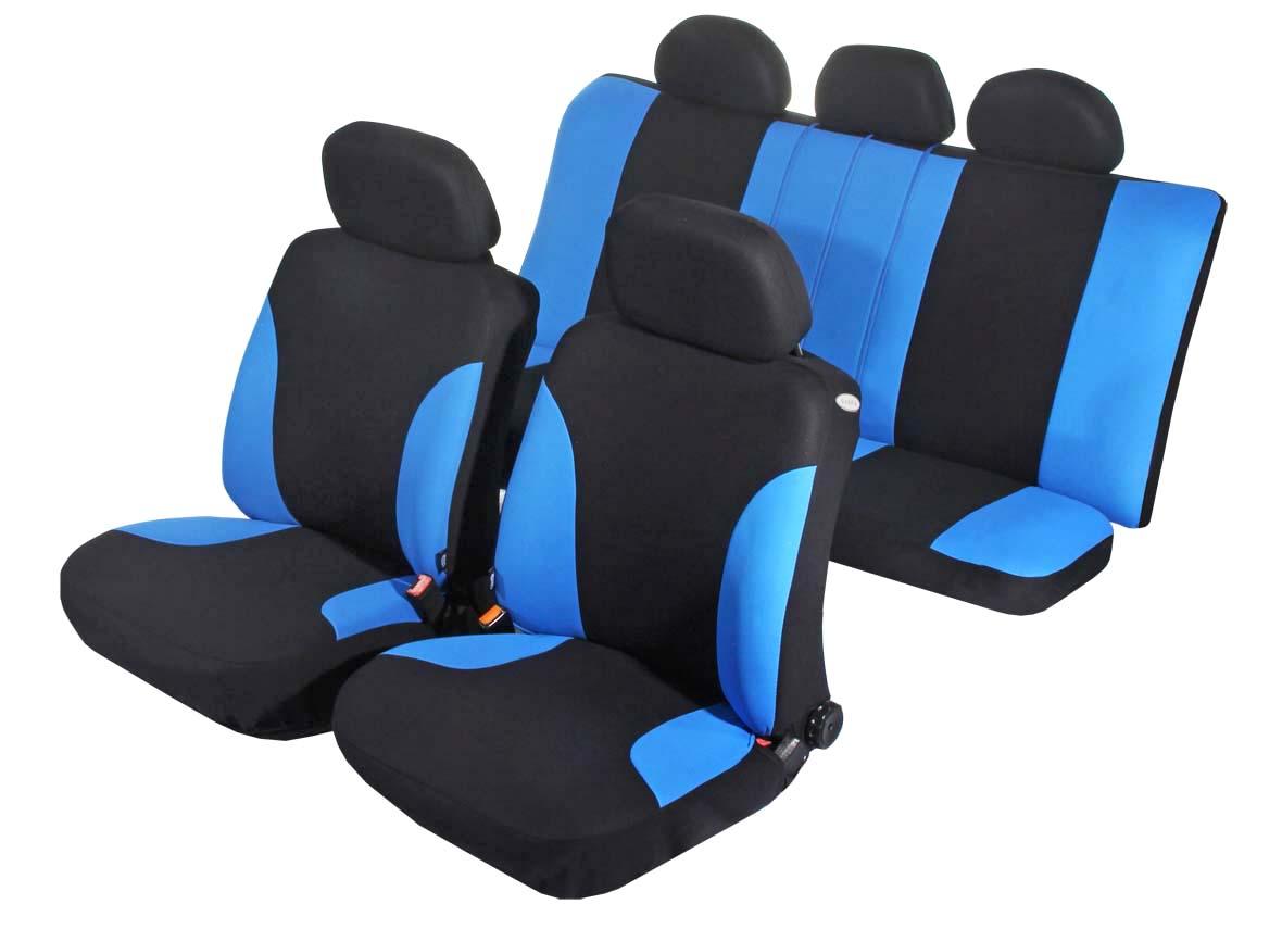 Чехол на сиденье универсальный Azard Favorit, цвет: синий, черный, 11 предметовAP011132Универсальные чехлы Azard Favorit, изготовленные из плотного полиэстера, применимы для 95% легкового автопарка РФ.Благодаря особому крою типа «В» чехлы идеально облегают сидения автомобиля. Специальный боковой шов позволяет применять авто чехлы в автомобилях с боковыми подушками безопасности (AIR BAG).Раздельная схема надевания обеспечивает легкую установку авто чехлов. Дополнительное удобство создает наличие предустановленных крючков, утягивающего шнура, фиксирующей липучки на передних спинках, а также предустановленной прорези для установки подголовника. Материал триплирован огнеупорным поролоном 3 мм, за счет чего чехол приобретает дополнительную мягкость и устойчивость к возгоранию.Авточехлы Azard Favorit износоустойчивы и легко стирается в стиральной машине.