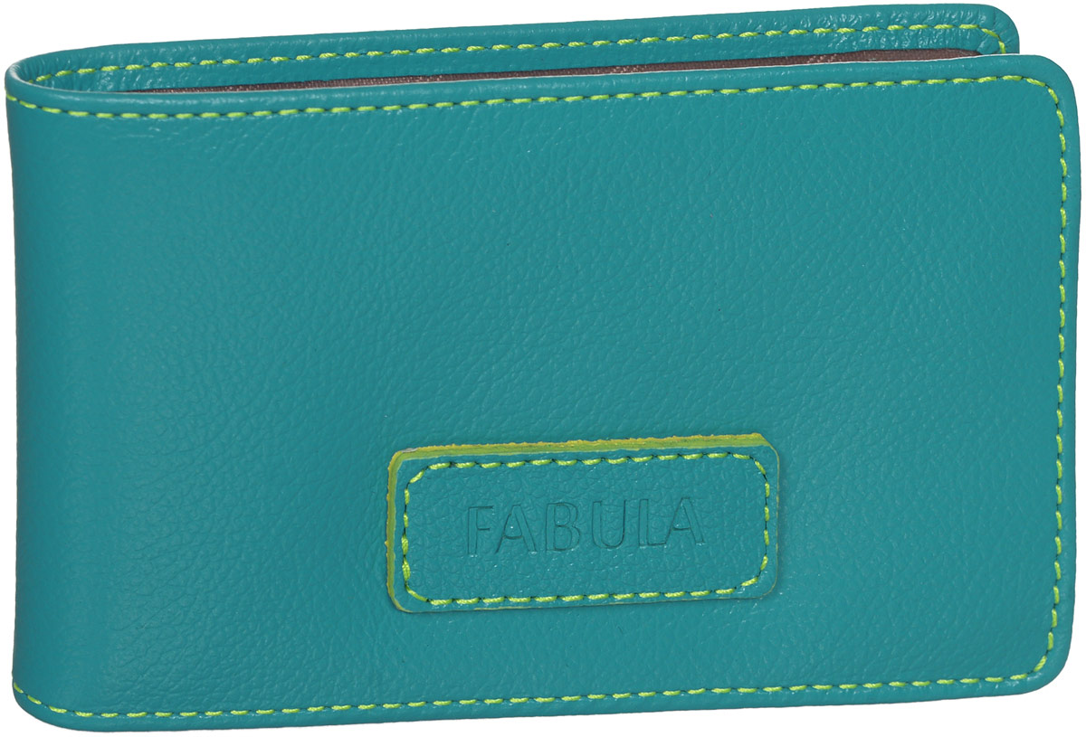 Визитница женская Fabula Ultra, цвет: бирюзовый. V.90.FPINT-06501Стильная горизонтальная визитница Fabula Ultra выполнена из натуральной кожи, оформлена нашивкой с тиснением в виде названия бренда и контрастной отстрочкой.Изделие раскладывается пополам. Внутри визитницы расположен вкладыш из прозрачного ПВХ, который включает в себя двадцать файлов для визиток или кредитных карт. Изделие поставляется в фирменной упаковке.Визитница Fabula Ultra станет отличным подарком для человека, ценящего качественные и практичные вещи.