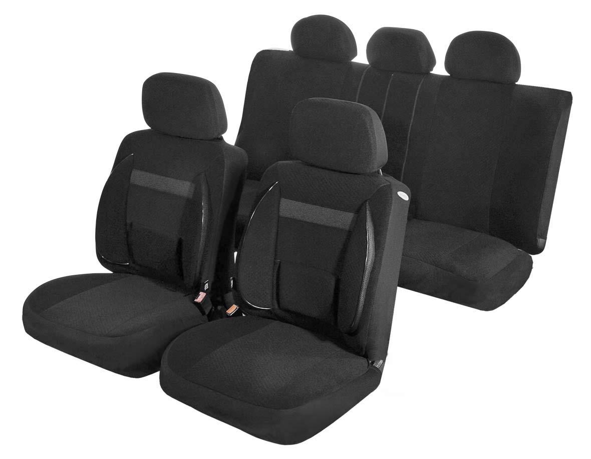 Чехлы для сидений Azard Support, универсальные, 11 предметов, цвет: черныйVT-1520(SR)Универсальные чехлы из автомобильного велюра. Применимы для 95% легкового автопарка РФ.Благодаря особому крою типа В чехлы идеально облегают сидения автомобиля. Специальный боковой шов позволяет применять авто чехлы в автомобилях с боковыми подушками безопасности (AIR BAG).Ортопедическую поддержку спины и ног по достоинству оценят водители, проводящие за рулем длительное время.Раздельная схема надевания обеспечивает легкую установку авто чехлов. Дополнительное удобство создает наличие предустановленных крючков, утягивающего шнура, фиксирующей липучки на передних спинках, а также предустановленной прорези для установки подголовника.Материал триплирован огнеупорным поролоном 3 мм, за счет чего чехол приобретает дополнительную мягкость и устойчивость к возгоранию.Авточехлы Azard Support износоустойчивы и легко стирается в стиральной машине.Универсальные чехлы из автомобильного велюра. Применимы для 95% легкового автопарка РФ.Благодаря особому крою типа В чехлы идеально облегают сидения автомобиля. Специальный боковой шов позволяет применять авто чехлы в автомобилях с боковыми подушками безопасности (AIR BAG).Ортопедическую поддержку спины и ног по достоинству оценят водители, проводящие за рулем длительное время.Раздельная схема надевания обеспечивает легкую установку авто чехлов. Дополнительное удобство создает наличие предустановленных крючков, утягивающего шнура, фиксирующей липучки на передних спинках, а также предустановленной прорези для установки подголовника.Материал триплирован огнеупорным поролоном 3 мм, за счет чего чехол приобретает дополнительную мягкость и устойчивость к возгоранию.Авточехлы Azard Support износоустойчивы и легко стирается в стиральной машине.