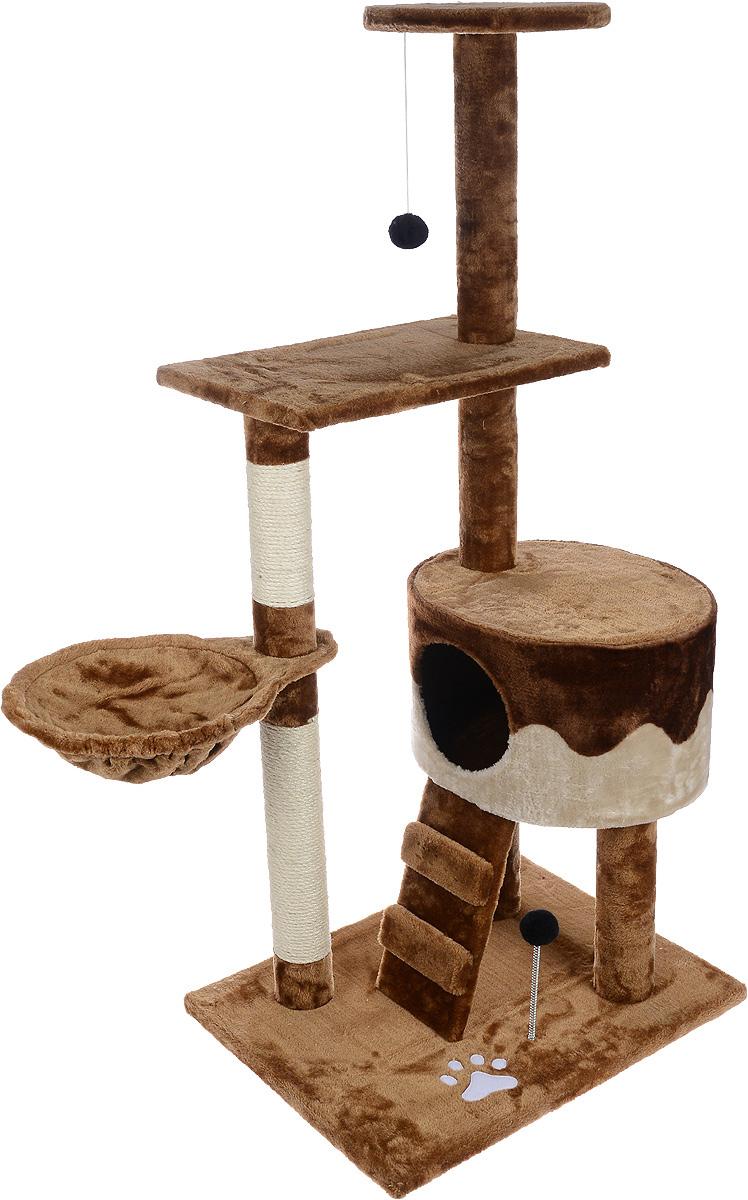 Игровой комплекс для кошек Aimigou, цвет: коричневый, бежевый, 90 х 51 х 130 см0120710Игровой комплекс для кошек Aimigou выполнен из высококачественного ДСП и обтянут искусственным мехом. Изделие предназначено для кошек. Ваш домашний питомец будет с удовольствием точить когти о специальные столбики, изготовленные из сизаля. А отдохнуть он сможет либо на полках, либо на гамаке, либо в домике. Изделие оснащено небольшой лесенкой. На основании и на одной из полок расположена игрушка, которая еще сильнее привлечет внимание питомца.Общий размер: 90 х 51 х 130 см.Размер основания: 62 х 47 см.Размер нижней полки: 49 х 30 см.Диаметр верхней полки: 29 см.Размер домика: 41 х 35 х 25 см.Размер гамака: 42 х 30 см.Размер лесенки: 32 х 16 см.
