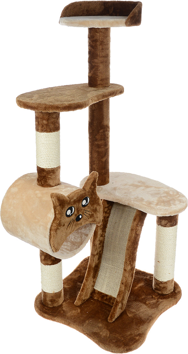 Игровой комплекс для кошек Aimigou, цвет: коричневый, бежевый, 50 х 50 х 118 смQQ80106-10Игровой комплекс для кошек Aimigou выполнен из высококачественного ДСП и обтянут искусственным мехом. Изделие предназначено для кошек. Ваш домашний питомец будет с удовольствием точить когти о специальные столбики или горку, изготовленные из сизаля. А отдохнуть он сможет либо на полках, либо в трубе. Общий размер: 50 х 50 х 118 см.Размер основания: 50 х 49 см.Размер больших полок: 50 х 28 см.Размер верхней полки: 31 х 30 см.Размер трубы: 26 х 26 х 26 см.