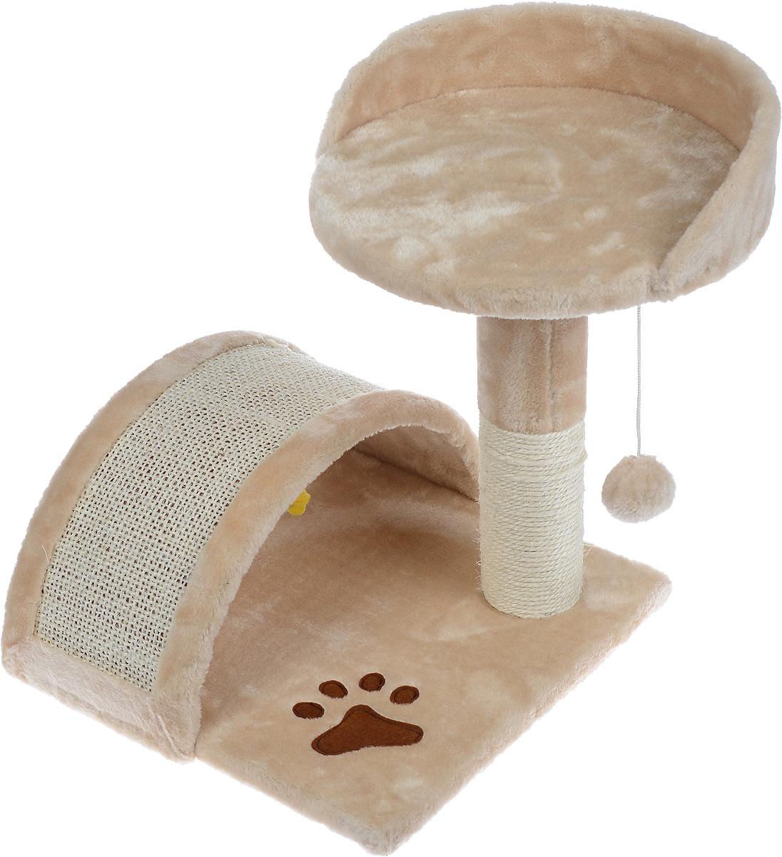 Когтеточка Aimigou, с полкой и игрушками, цвет: бежевый, белый, 43 х 42 х 42 см0120710Когтеточка Aimigou поможет сохранить мебель и ковры в доме от когтей вашего любимца, стремящегося удовлетворить свою естественную потребность точить когти. Когтеточка изготовлена из ДСП, искусственного меха и сизаля. Товар продуман в мельчайших деталях и, несомненно, понравится вашей кошке. Сверху имеется полка. Точить когти ваш питомец будет о полукруглую горку или столбик с покрытием из сизаля. Под горкой расположена мягкая игрушка в виде рыбки.Всем кошкам необходимо стачивать когти. Когтеточка - один из самых необходимых аксессуаров для кошки. Для приучения к когтеточке можно натереть ее сухой валерьянкой или кошачьей мятой. Когтеточка поможет вашему любимцу стачивать когти и при этом не портить вашу мебель.Размер основания: 34 х 34 см.Высота когтеточки (с учетом полки): 42 см.Размер полки: 30,5 х 30 см.