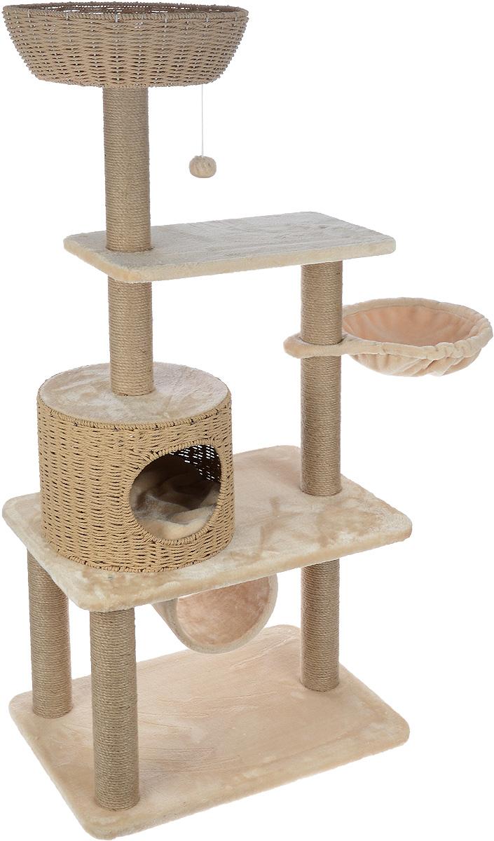 Игровой комплекс для кошек Aimigou, цвет: бежевый, 95 х 45 х 137,5 см0120710Игровой комплекс для кошек Aimigou выполнен из высококачественного ДСП и обтянут искусственным мехом. Изделие предназначено для кошек. Ваш домашний питомец будет с удовольствием точить когти о столбики, выполненные из сизаля. А отдохнуть он сможет либо на полках, либо в корзинке, либо на гамаке, либо в домике или в трубе. Изделие оснащено двумя съемными матрасиками. Сверху имеется игрушка, которая привлечет внимание вашего питомца.Общий размер: 95 х 45 х 137,5 см.Размер основания и нижней полки: 66 х 45 см.Размер верхней полки: 54 х 30 см.Размер гамака: 43 х 32 см.Размер домика: 34 х 34 х 27 см.Размер корзинки: 39,5 х 39,5 х 12 см.Размер трубы: 20 х 22 х 22.Диаметр матрасов: 34 см.