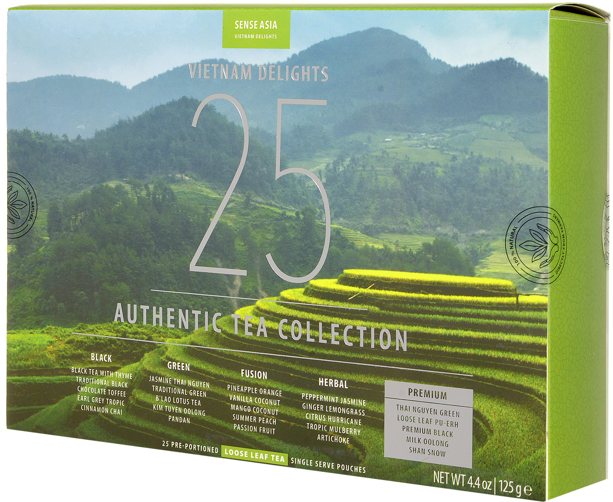 Sense Asia Vietnam Delights подарочный набор чая, 125 г101246Подарочный набор чая Sense Asia Vietnam Delights состоит из 25 стикеров листового чая, по 1 стикеру на каждый вид. Это своеобразный тестовый набор вьетнамского чая для гурманов и начинающих ценителей чая. Каждый стикер имеет уникальную наклейку о стране, ее людях и самых знаменитых местах. Также внутри коробки размещена карта Вьетнама, на которой отмечены места произрастания чая, интересные и забавные факты. На обратной стороне карты, представлены фото всех видов чая и их вкусовые характеристики.Набор состоит из бестселлеров мирового рынка и сегментирован по самым популярным видам чая: черный, зеленый, фьюжн (тропические ароматы), травяной чай и премиальная линейка. Уникальная упаковка – это три захватывающих панорамы самых живописных уголков Вьетнама:Рисовые поля Сапы (знаменитое своими видами место на севера Вьетнама)Соляные поля Ня Чанга (курортного города на юге страны)Острова знаменитой бухты ХалонгСостав набора:5 видов черного чая:Traditional black (Традиционный черный)Earl Grey Tropic (Эрл Грей Тропик)Cinnamon Chai (Пряный чай с корицей)Chocolate Toffee (Шоколадные Ириски)Black tea with Thyme (Черный чай с Чабрецом)5 видов зеленого чая:Traditional green (Традиционный зеленый)Jasmine (Жасминовый Чай)Blao Lotus Tea (Лотосовый Чай)Pandan (Пандан)Oolong (Вьетнамский Улун)5 видов смешанного чая (Fusion Teas)Mango Coconut (Манго Кокос)Pineapple Orange Cream (Ананасово-Апельсиновые Сливки)Summer Peach (Летний Персик)Vanilla Coconut (Ваниль Кокос)Passion Fruit (Маракуйя)5 видов травяного чая (Herbal Tea)Artichoke (чай из цветков артишока)Tropic Mulberry (Тропическая Шелковица)Peppermint & Jasmine (Перечная мята и Жасмин)Ginger Lemongrass (Имбирь Лемонграсс)Citrus Hurricane (Цитрусовый Ураган)5 видов чая Премиум (Premium Tea)Shan Snow (Шан Сноу)Milk Oolong (Молочный Улун)Premium Black Tea (черный чай Премиум)Thai Nguyen Green (Отборный зеленый чай)Pu-Erh (Листовой Пу Эр)