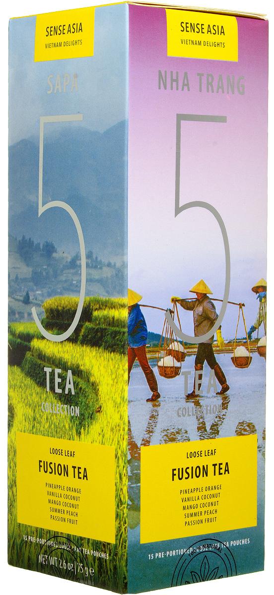 Sense Asia Vietnam Delights collection подарочный набор смешанного чая 5 Fusion Tea, 75 г101246Подарочный набор чая Sense Asia Vietnam Delights collection - это тропические ароматы, за основу которых взяты черный чай, различные тропические фрукты и цветы. Sense Asia Vietnam Delights collection состоит из 5 видов смешанного листового чая, по 3 стикера на каждый вид. Это своеобразный тестовый набор смешанного вьетнамского чая для гурманов и начинающих ценителей.Каждый стикер внутри имеет уникальную наклейку о стране, ее людях и самых знаменитых местах. Способ заваривания чая для каждого вида индивидуален и для вашего удобства на каждом стикере размещены способы приготовления чая.Подарочный набор чая Sense Asia Vietnam Delights collection состоит из бестселлеров мирового рынка: 5 видов Смешанного Чая (Fusion Teas), Mango Coconut (Манго Кокос), Pineapple Orange Cream (Ананасово-Апельсиновые Сливки), Summer Peach (Летний Персик, Vanilla Coconut (Ваниль Кокос), Passion Fruit (Маракуйя).Уникальная упаковка – это три захватывающих панорамы самых живописных уголков Вьетнама: рисовые поля Сапы (знаменитое своими видами место на севера Вьетнама), соляные поля Ня Чанга (курортного города на юге страны), острова знаменитой бухты Халонг. Коллекция Vietnam Delights - Лучший подарок для гурманов и начинающих ценителей чая!