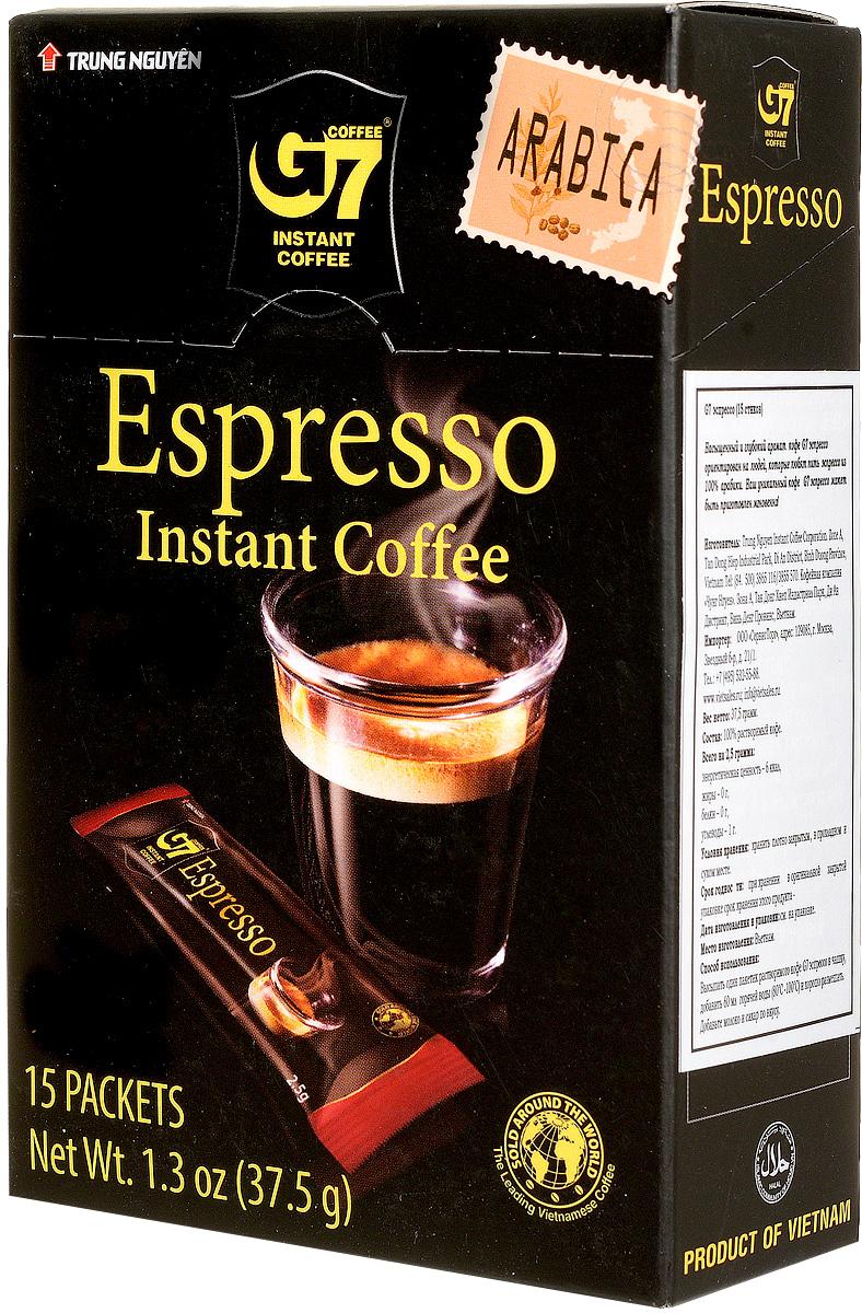 Trung Nguyen G7 Espresso кофе растворимый, 15 стиков0120710Trung Nguyen G7 Espresso - насыщенный вкус цельных кофейных зерен Арабики, обжаренных до темного цвета. Данный напиток обладает приятной кофейной горечью, крепостью и полнотой вкуса.Способ приготовления: высыпать в чашку один пакетик растворимого кофе. Добавить 150 мл горячей воды (80-100°С) и хорошо размешать. Добавьте молоко и сахар по вкусу.Кофе G7 подарит вам восхитительные вкусовые ощущения!