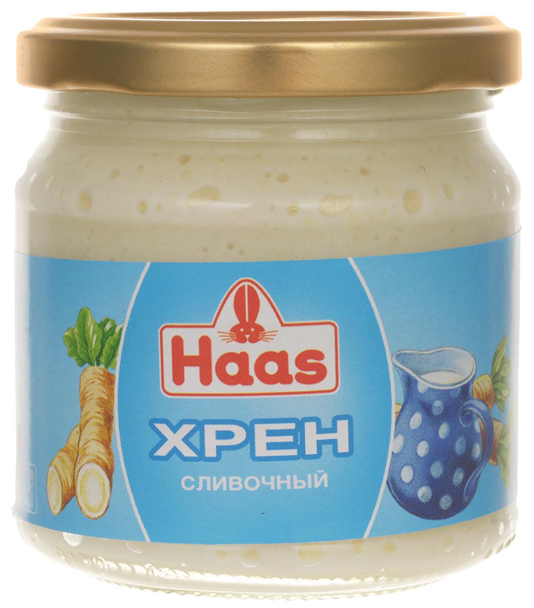 Haas хрен сливочный, 190 г3926Нежный натуральный хрен Haas с добавлением сливок (25%) - для истинных гурманов. Обладает тонким, изысканным вкусом, прекрасно подходит к рыбе, мясным стейкам и блюдам из дичи.