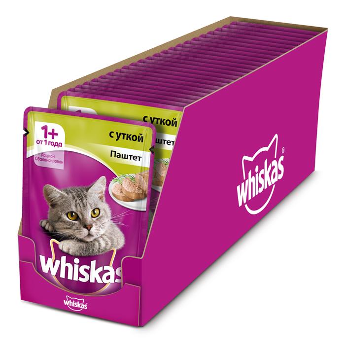 Консервы Whiskas для кошек от 1 года, паштет с уткой, 85 г х 24 шт41400Консервы Whiskas - полнорационный сбалансированный корм, который идеально подойдет вашему любимцу. Нежный паштет приготовлен с учетом потребностей кошек. Специально сбалансированный рацион содержит все необходимые питательные вещества, витамины и минералы. Консервы не содержат сои, консервантов, ароматизаторов, искусственных красителей и усилителей вкуса. Состав: мясо и субпродукты (в том числе утка минимум 4%), таурин, витамины, минеральные вещества.Пищевая ценность (100 г): белки - 8 г, жиры - 4 г, зола - 1,8 г, клетчатка - 0,3 г, витамин А не менее 150 МЕ, витамин Е не менее 1 мг, влага - 85 г.В упаковке 24 пауча по 85 г. Товар сертифицирован.