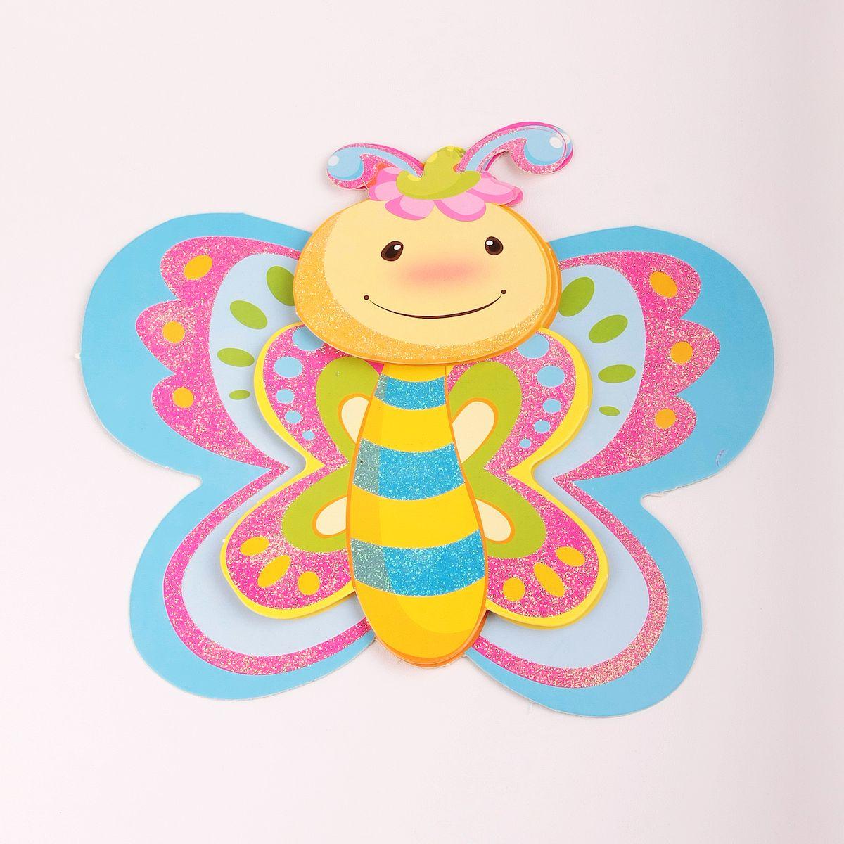 Наклейка декоративная Magic Home Бабочка, 35,5 х 25 см. 31826THN132NЯркая, забавная наклейка украсит не только детскую комнату, но и станет отличным дополнением к любому подарку. Наклейку можно использовать как украшение стен и, например, фасадов шкафов и различных ящиков.