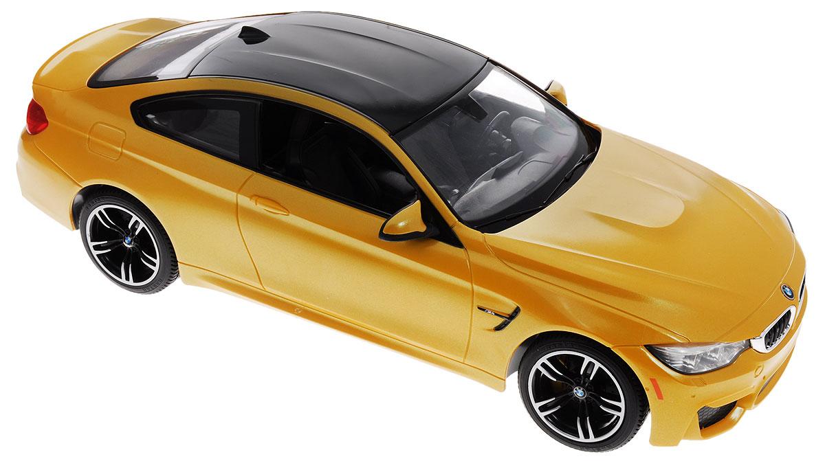 """Радиоуправляемая модель Rastar """"BMW M4 Coupe"""" обязательно привлечет внимание взрослого и ребенка и понравится любому, кто увлекается автомобилями. Корпус автомобиля выполнен из металла с использованием пластиковых элементов, колеса - из резины. Маневренная и реалистичная уменьшенная копия выполнена в точной детализации с настоящим автомобилем в масштабе 1:14. Управление машинкой происходит с помощью пульта. Машина двигается вперед и назад, поворачивает направо, налево. Имеются световые эффекты. Колеса игрушки обеспечивают плавный ход, машинка не портит напольное покрытие. Радиоуправляемые игрушки способствуют развитию координации движений, моторики и ловкости. Ваш ребенок часами будет играть с моделью, придумывая различные истории и устраивая соревнования. Порадуйте его таким замечательным подарком! Модель автомобиля работает от 5 батареек напряжением 1,5V типа АА (не входят в комплект). Пульт управления работает от батарейки 9V типа..."""