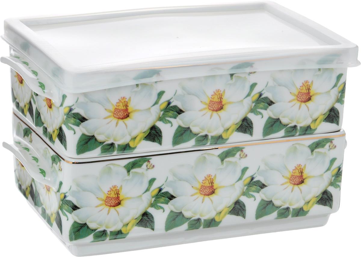 Набор блюд для холодца Elan Gallery Белый шиповник, 800 мл, 2 шт115510Блюда для холодца Elan Gallery Белый шиповник, изготовленные из высококачественной керамики, предназначены для приготовления и хранения заливного или холодца. Пластиковая крышка, входящая в комплект, сохранит свежесть вашего блюда. Также блюда можно использовать для приготовления и хранения салатов. Изделия оформлены оригинальным рисунком. Такие блюда украсят сервировку вашего стола и подчеркнут прекрасный вкус хозяйки.Не рекомендуется применять абразивные моющие средства. Не использовать в микроволновой печи. Размер блюд (без учета ручек и крышки): 17,2 х 11,5 х 6 см.Объем блюд: 800 мл.
