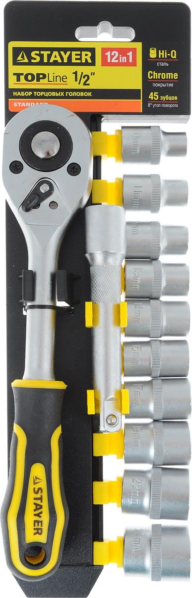 Набор инструментов Stayer Standard, 12 предметов98295719Набор слесарно-монтажного инструмента Stayer Standard предназначен для работы с резьбовыми соединениями. Торцевые головки имеют шестигранный зев и посадочное место для присоединительного квадрата 1/2. Трещотка с храповым механизмом устраняет необходимость каждый раз устанавливать ключ на крепежный элемент. Изделия выполнены из высококачественной стали. Трещотка оснащена удобной обрезиненной рукояткой.Состав набора:Торцевые головки: 10 мм, 11 мм, 12 мм, 13 мм, 14 мм, 15 мм, 17 мм, 19 мм, 22 мм, 24 мм.Трещотка с быстрым сбросом: 45 зубцов, длина 25 см.Удлинитель: 12,5 см.