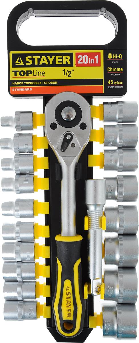 Набор инструментов Stayer Standard, 20 предметовАксион Т-33Набор слесарно-монтажного инструмента Stayer Standard предназначен для работы с резьбовыми соединениями. Торцевые головки имеют шестигранный зев и посадочное место для присоединительного квадрата 1/2. Трещотка с храповым механизмом устраняет необходимость каждый раз устанавливать ключ на крепежный элемент. Изделия выполнены из высококачественной стали. Трещотка оснащена удобной обрезиненной рукояткой.Состав набора:Торцевые головки: 8 мм, 9 мм, 10 мм, 11 мм, 12 мм, 13 мм, 14 мм, 15 мм, 16 мм, 17 мм, 18 мм, 19 мм, 20 мм, 22 мм, 24 мм, 27 мм, 30 мм, 32 мм.Трещотка с быстрым сбросом: 45 зубцов, длина 25 см.Удлинитель: 12,5 см.