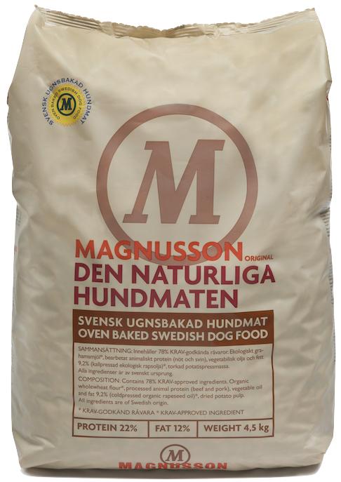 Корм сухой Magnusson Original Naturliga, для сильных аллергиков и чувствительных к питанию собак, 4,5 кг0120710Cамый чистый и простой корм Магнуссон – всего 4 ингредиента в составе.Идеально подходит для собак склонных к аллергии, белых собак и для тех владельцев, которые не могут определиться каким кормом начать кормить своего питомца. В Натурлигу не добавляется свежая морковь и свежие яйца, как в линейке Мит&Бисквит, отсутствуют пивные дрожжи, как в остальных кормах линейки Ориджинал.Как в любом корме Магнуссон, в Натурлиге нет никаких добавок и консервантов.Если Вы не можете выбрать с какого корма Магнуссон начать кормить – начните с Натурлиги!Корм можно давать как в сухом, так и размоченном виде. Не стоит заливать корм бульоном или молоком, лучше всего использовать воду. Определите количество корма, которое Вы хотите дать Вашей собаке. Добавьте в миску теплую воду так, чтобы она покрывала корм. Перемешайте и оставьте на 10 минут.Не забывайте, что Ваша собака всегда должна иметь свободный доступ к чистой питьевой воде. Количество корма варьируется в зависимости от породы, темперамента, физической нагрузки, климата и других факторов.