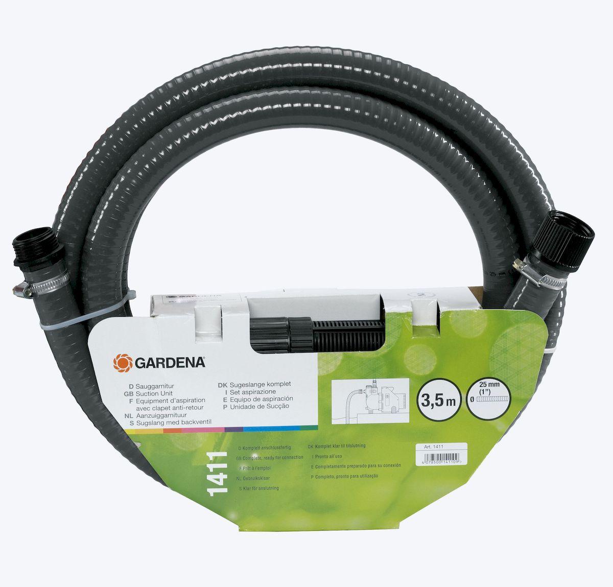 Шланг заборный с фильтром Gardena, 3,5 м011H1800Шланг заборный с фильтром Gardena вакуумоустойчивый спиральный армированный предназначен для подсоединения к насосу напрямую. Фильтр защищает насос от повреждения вследствие попадания загрязнений, а обратный клапан сокращает время всасывания насоса при повторном включении. Длина шланга 3,5 м; Диаметр 25 мм (1 дюйм); Подходит для насосов с наружной резьбой 33,3 мм (G 1).