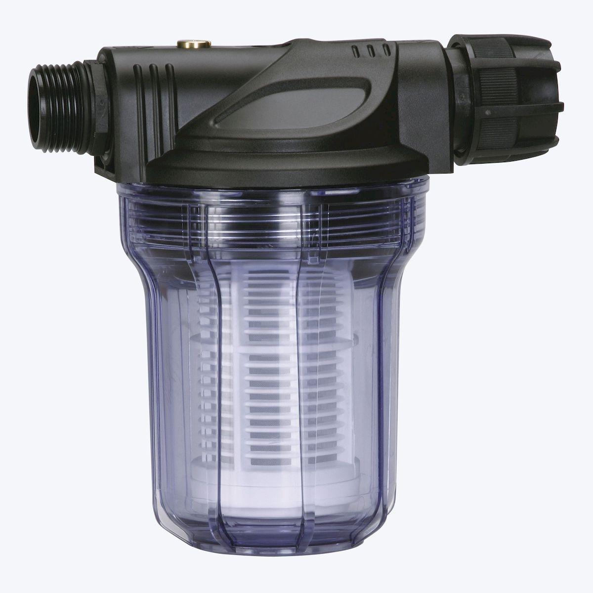 Фильтр предварительной очистки Gardena  до 3000 л/ч6.295-875.0Фильтр предварительной очистки Gardena  защищает насос от мелких и крупных загрязняющих частиц, обеспечивая тем самым бесперебойность его работы и особенно рекомендован к использованию при перекачивании сред, содержащих песок. Просто установите фильтр предварительной очистки между садовым насосом, станцией автоматического водоснабжения или автоматическим напорным насосом и заборным шлангом. Быстросъемный фильтр легко чистится. Фильтр снабжен резьбой 33,3 мм (G 1) и рассчитан на расход воды до 3000 л/ч.