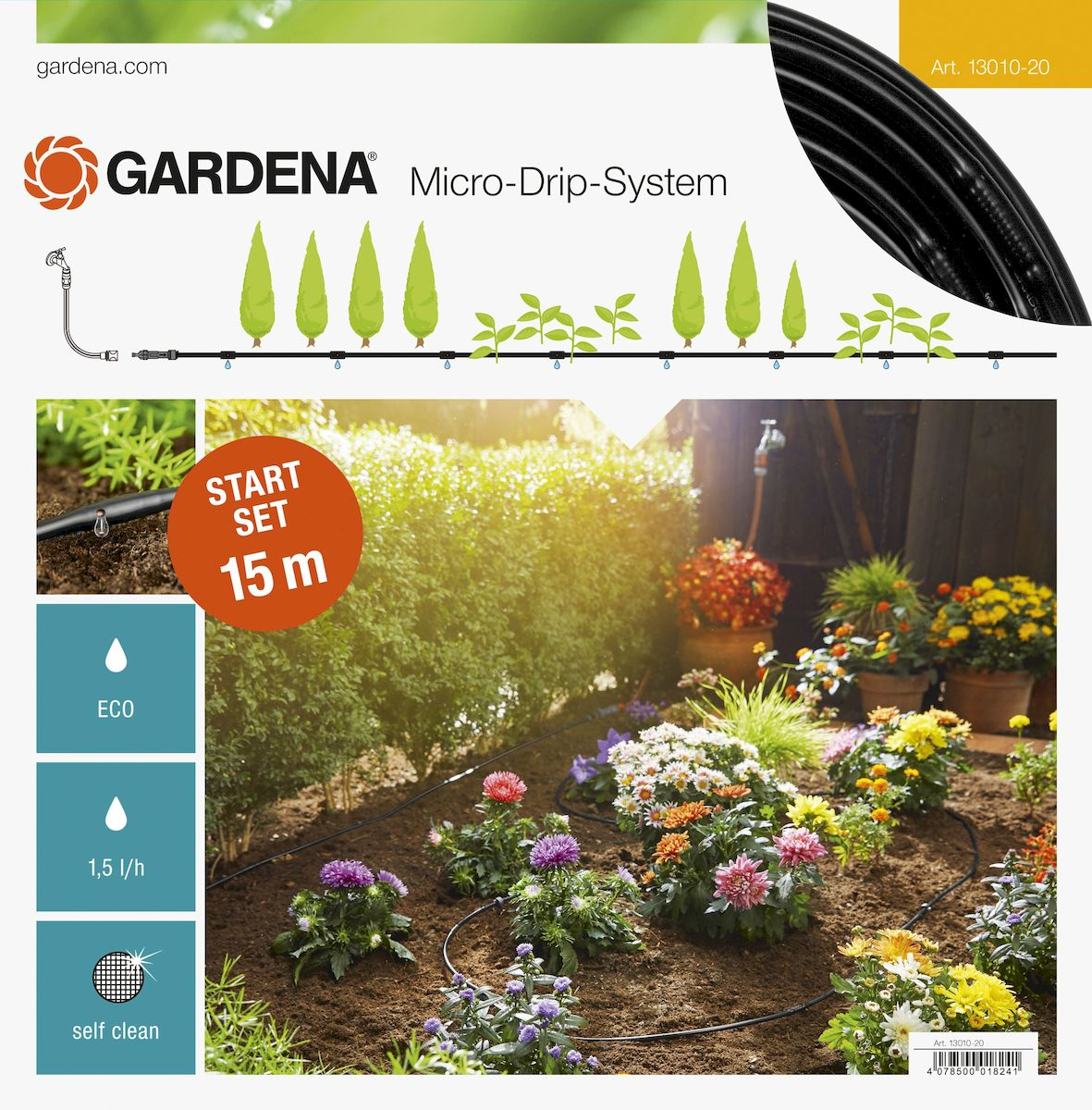 Комплект базовый для наземной прокладки Gardena, 4,6 мм (3/16) х 15 м106-026Комплект базовый для наземной прокладки Gardena предназначен для полива небольших участков с цветами, овощами и фруктами, а также для полива посаженных в ряд растений. Расстояние между отверстиями составляет 30 см. Каждая капельница обеспечивает бережный полив с расходом воды 1,6 л/ч. Благодаря использованию инновационной лабиринтной технологии, капельницы являются самоочищающимися. Благодаря небольшому диаметру 4,6 мм (3/16) шланг характеризуется особой многофункциональностью и простотой монтажа. При условии установки мастер-блока по центру длина шланга может быть увеличена до 30 м с помощью комплекта для удлинения. В комплекте:- мастер-блок 1000; - подающий шланг 4,6 мм (3/16), 15 м; - колышки для крепления шланга 13 мм (1/2), 15 шт; - заглушка 4,6 мм (3/16).