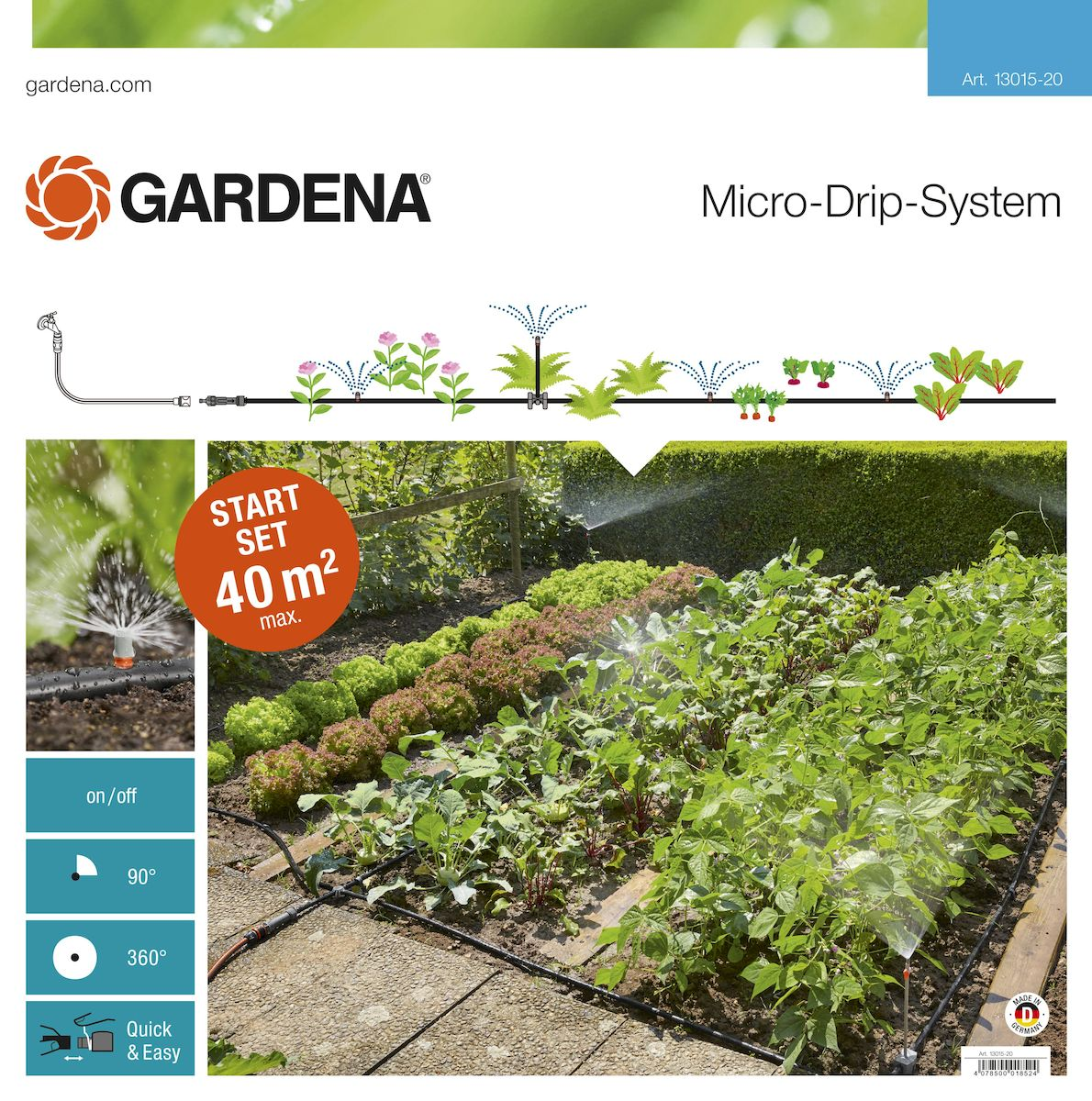Шланг сочащийся Gardena с фитингами, 13 мм (1/2) х 40 м96281496Шланг сочащийся Gardena является элементом системы микрокапельного полива Gardena и оптимально подходит для полива грядок площадью до 40 м2. Наличие распыляющих микронасадок позволяет бережно поливать рассаду и капризные растения. В комплекте: - мастер блок 1000; - магистральный шланг 25 м; - микронасадка 90°, 4шт; - микронасадка 360°;- надставка для микронасадки, 5 шт; - запорных кран, 5 шт; - L-образный соединитель 13 мм (1/2), 2 шт; - крестовина 13 мм (1/2);- направляющие 13 мм (1/2), 5 шт; - заглушка 13 мм (1/2), 3 шт; - колышки для крепления шлангов 13 мм (1/2), 10 шт; - инструмент для сборки. Благодаря запатентованной технологии быстрого подсоединения Quick & Easy, все элементы легко соединяются и разъединяются.