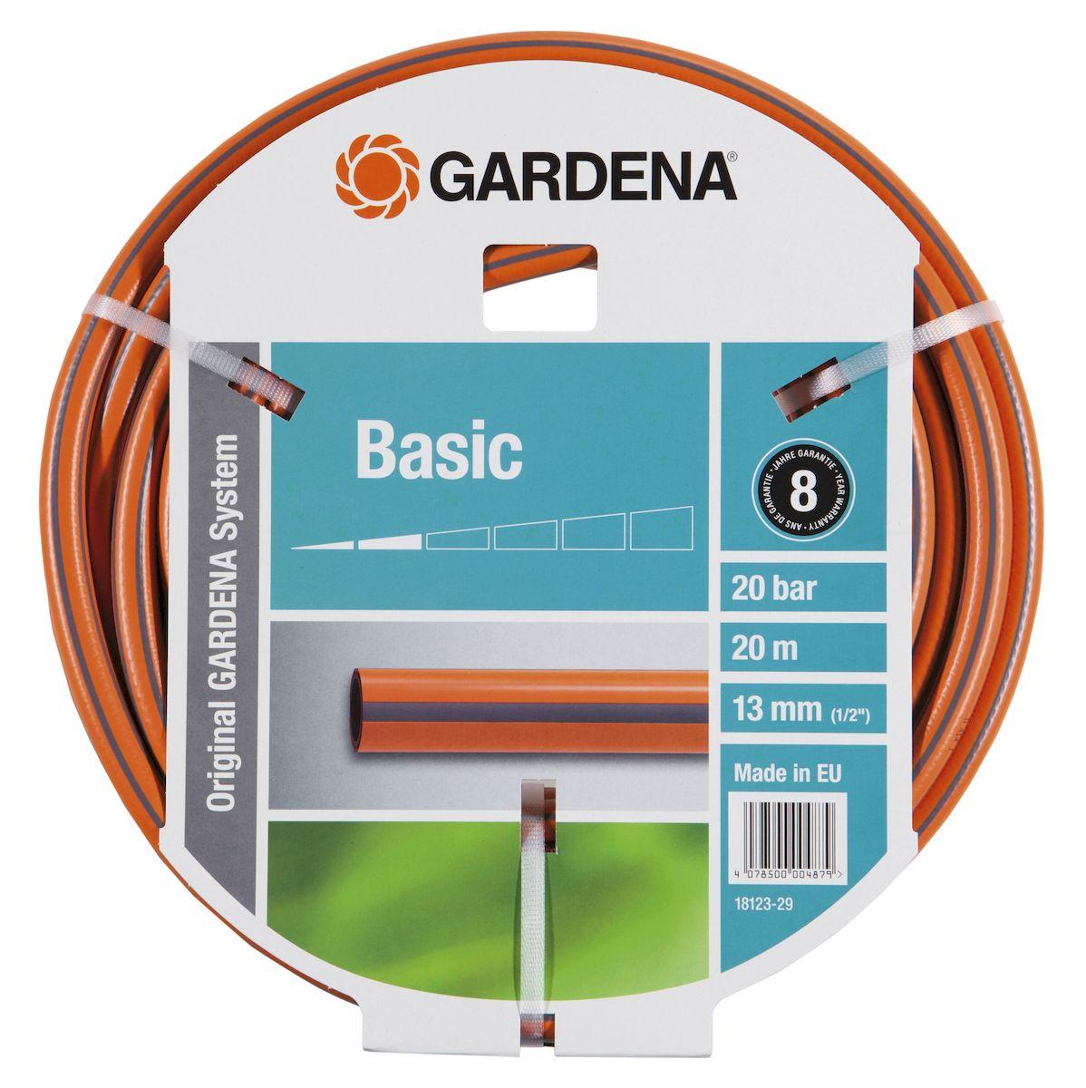 Шланг Gardena Basic, армированный, диаметр 13 мм, длина 20 м96515412Садовый шланг Gardena Basic, выполненный из ПВХ, прекрасно сохраняет свою форму благодаря высококачественному текстильному армированию. В шланге отсутствуют фталаты и тяжелые металлы, а устойчивость к УФ-излучению позволяет хранить шланг на улице. Идеально подходит для умеренной интенсивности использования. Диаметр: 3 мм.Длина: 20 м.Maксимальное давление: 20 бар.