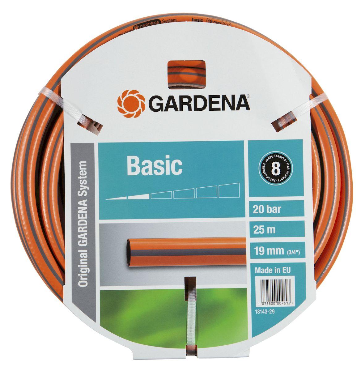 Шланг Gardena Basic, 19 мм (3/4) х 25 м97916771Шланг Gardena Basic, прекрасно сохраняет свою форму благодаря высококачественному текстильному армированию, отсутствуют фталаты и тяжелые металлы, невосприимчив к УФ-излучению. Шланг не перегибается, не спутывается, не перекручивается, благодаря спиралевидному текстильному армированию, усиленному углеродными волокнами. Шланг Gardena Basic оптимально сочетается с компонентами базовой системы полива. Идеально подходит для умеренной интенсивности использования. Шланг Gardena Classic выполнен из высококачественного ПВХ и выдерживает давление до 22 бар. Толстые стенки шланга и высококачественные материалы обеспечивают длительный срок службы.