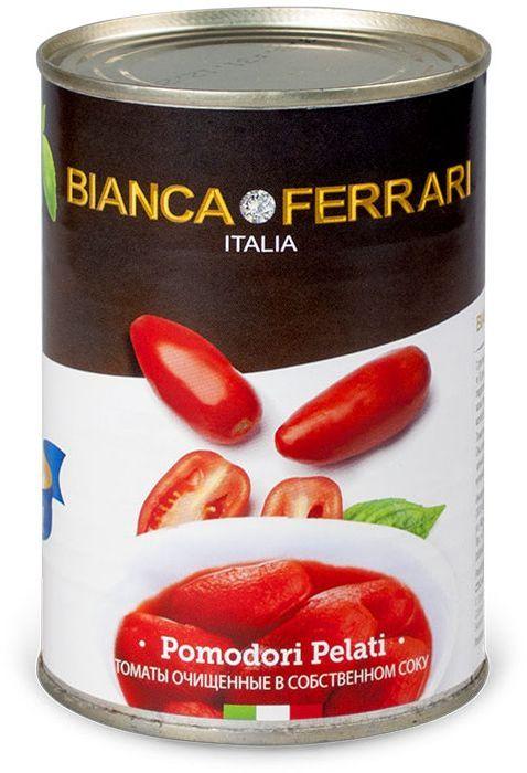 Bianca Ferrari Пелати помидоры очищенные в собственном соку, 400 г50800033Целые очищенные сочные итальянские томаты в собственном соку. Используются исключительно летние томаты. Яркие, сочные, сладкие томаты вобравшие в себя тепло средиземноморского солнца, станут украшением любого стола. Такие томаты прекрасно подходят как для самостоятельной закуски, так и для пиццы, пасты, тушеных овощей.