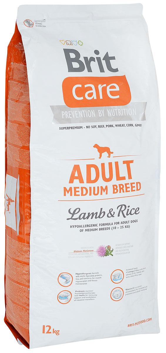 Корм сухой Brit Care Adult Medium Breed для взрослых собак средних пород, с ягненком и рисом, 12 кг0120710Сухой корм Brit Care Adult Medium Breed - это полноценный рацион для взрослых собак средних пород. Экстракт юкки защищает кишечник и печень от токсичности аммиака и предотвращает разложение гемоглобина. Оптимальное соотношение Омега-3 и Омега-6 жирных кислот с органическим цинком и медью обеспечивает здоровое состояние кожи и улучшает качество шерсти.Товар сертифицирован.