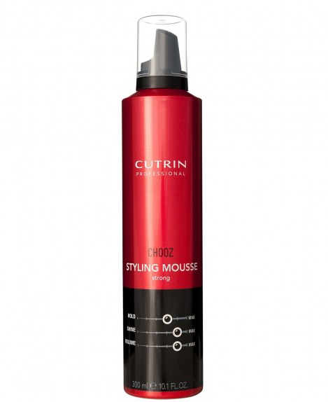Cutrin Пенка сильной фиксации Styling Mousse Strong, 300 мл721159Обеспечивает гибкую эластичную фиксацию и долговременный воздушный объем. Защищает волосы от высоких температур при укладке феном или утюгом. Пантенол оказывает на волосы ухаживающий эффект. Отсутствие в формуле спирта делает воздействие продукта на волосы максимально деликатным.