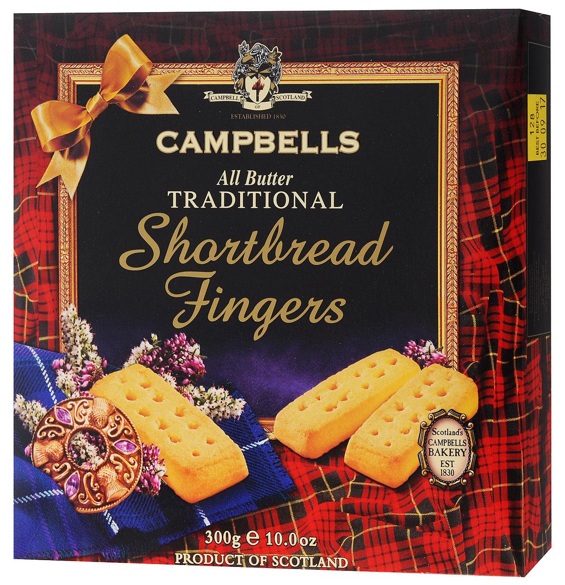 Campbells шотландские песочные пальчики, 300 г0120710Шотландские пальчики от Campbells - легендарное песочное печенье из Шотландии. Производитель вот уже многие годы не изменяет рецепт приготовления этого вкуснейшего печенья, который состоит преимущественно из натуральных ингредиентов.