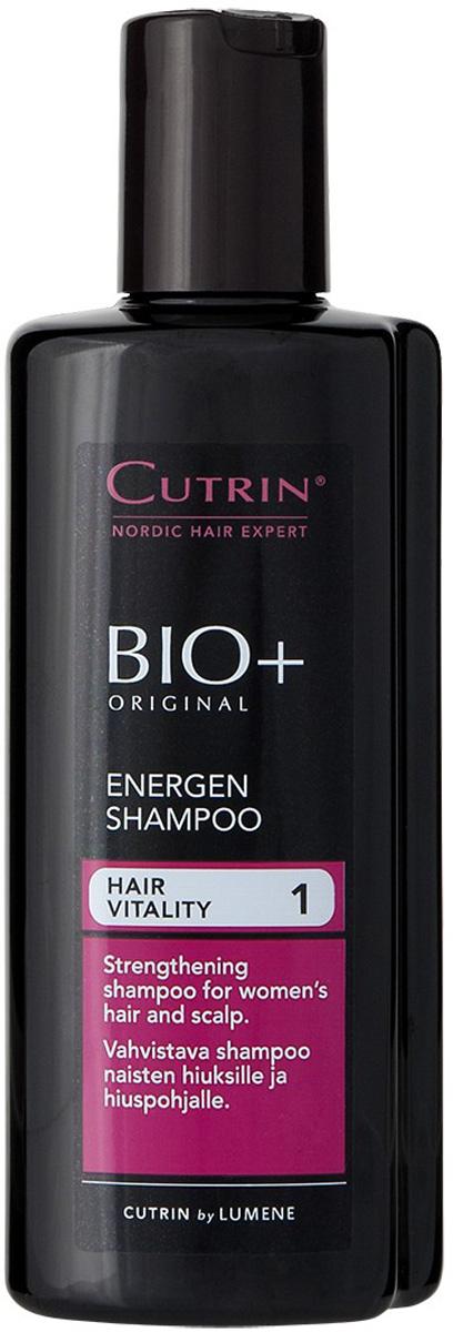 Cutrin Энергетический шампунь для женщин BIO+ Energen Shampoo, 200 мл14228Укрепляющий шампунь для женщин стимулирует процесс обновления клеток и рост новых волос, а также препятствует их преждевременному выпадению.Содержит 7 разных витаминов, которые особенно важны для роста волос, включая Биотин, витамин группы H, недостаток которого приводит к выпадению волос, появлению седины и заболеваниям кожи головы.Ксилитол, лактитол и пальмовый экстракт нормализуют работу сальных желез и улучшают состояние кожи головы.Наиболее эффективно применять в комплексе со стимулирующим лосьоном BIO+ для женщин.