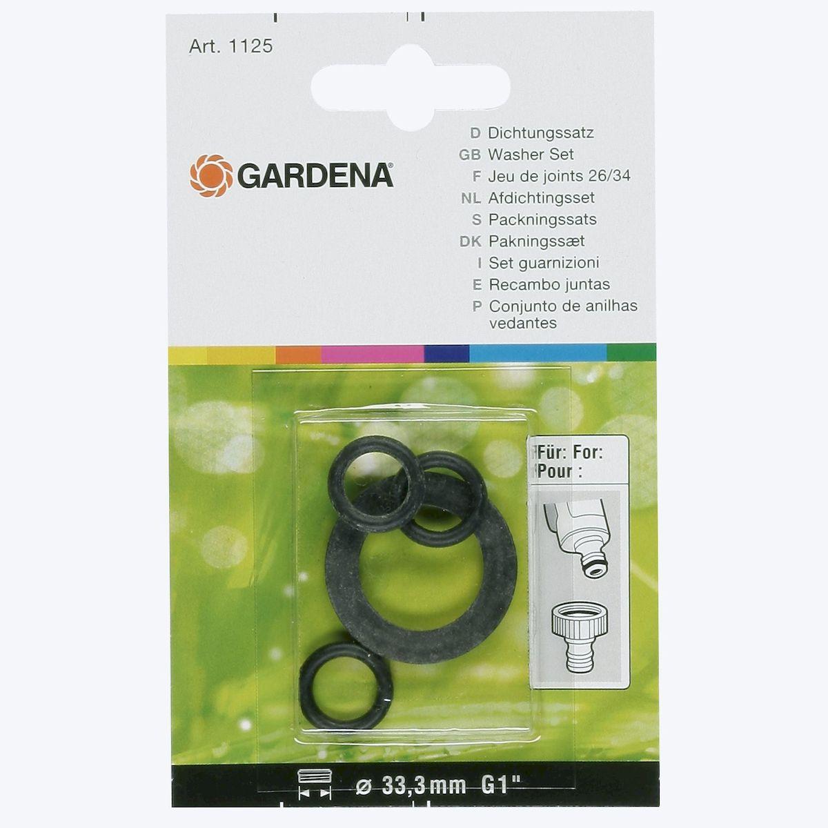 Комплект прокладок Gardena для резьбовых штуцеров02761-20.000.00В комплект прокладок Gardena входит одна прокладка и три уплотнительных кольца. Прокладки предназначены для резьбовых штуцеров Gardena с резьбой 33,3 мм ( G 1). После замены прокладок штуцеры становятся полностью герметичными и не пропускают воду.