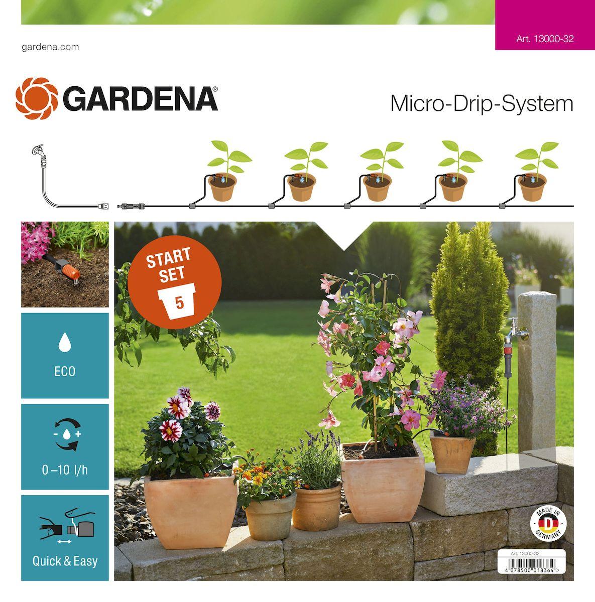 Комплект микрокапельного полива террасовый Gardena, базовыйА00319Комплект для террас Gardena предназначен для микрокапельного полива, который может применяться в различных целях. Комплект может использоваться для полива пяти горшечных растений, но в любом случае это оптимальный набор инструментов для создания базовой системы микрокапельного полива Gardena. Такие элементы позволяют создать систему для удобного полива необходимых растений. Предусмотрена возможность включения в систему дополнительных элементов. В комплект входит: - мастер-блок 1000; - переходник для шланга;- шланг подающий 10 м; - колышки для крепления шлангов 4,6 мм (3/16), 5 шт;- соединитель Т-образный 4,6 мм (3/16), 5 шт;- заглушка 4,6 мм (3/16); - регулируемая концевая капельница (0-10 л/час), 5 шт.Благодаря патентованной технологии быстрого подсоединения Quick & Easy, все элементы легко соединяются и разъединяются.