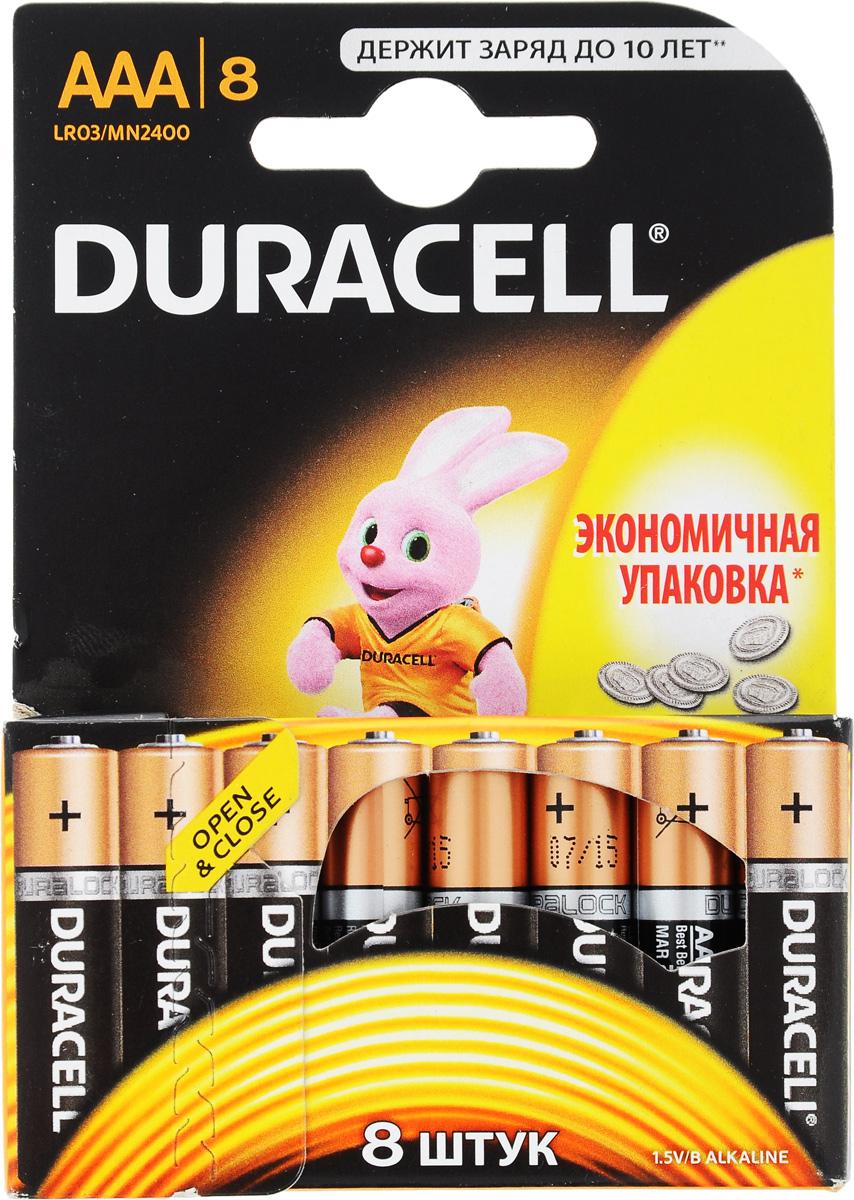 Набор алкалиновых батареек Duracell Basic, тип AAA, 8 штALKAAA10Набор батареек Duracell Basic предназначен для использования в различных электронных устройствах небольшого размера, например в пультах дистанционного управления, портативных MP3-плеерах, фотоаппаратах, различных беспроводных устройствах. Батарейки оснащены индикатором заряда.Тип элемента питания: AAA (LR03).Тип электролита: щелочной.Выходное напряжение: 1,5 В.Комплектация: 8 шт. .