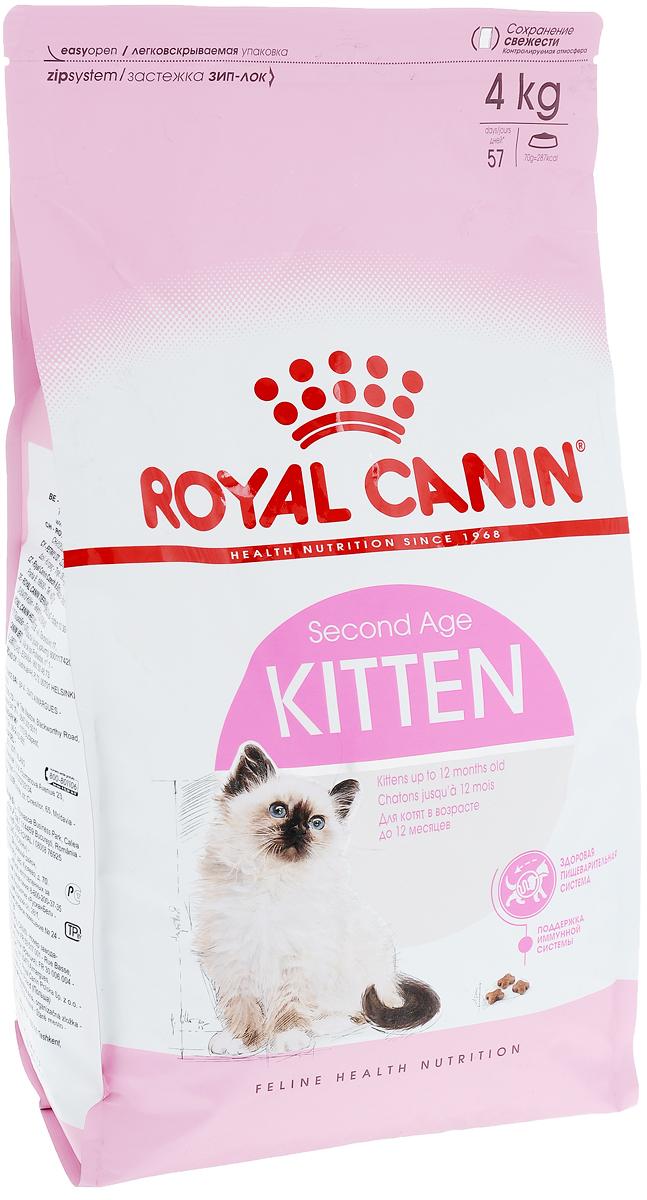 Корм сухой Royal Canin Kitten, для котят в возрасте до 12 месяцев, 4 кг0120710Сухой корм Royal Canin Kitten - полнорационный корм для котят до 12 месяцев.Здоровье пищеварительной системы.В течение периода роста пищеварительная система котенка остается несовершенной и продолжает постепенно развиваться в течение еще нескольких недель. Уникальная комбинация питательных веществ помогает поддерживать здоровое пищеварение котенка и нормализует стул. Легкоусвояемые белки (L.I.P.), адаптированное содержание клетчатки (в том числе подорожника и пребиотиков) способствует балансу кишечной микрофлоры.Естественная защита.Комплекс антиоксидантов и пребиотики, содержащиеся в продукте KITTEN, поддерживают естественные защитные силы котенка.Гармоничный рост.Сбалансированное содержание легкоусвояемых белков (L.I.P.), витаминов и минеральных веществ в продукте KITTEN способствует росту котенка, а также удовлетворяет его энергетические потребности в период интенсивного роста. LIP.Благодаря высокоусвояемым белкам L.I.P. (90% усвояемости) снижается количество непереваренных остатков пищи в кишечнике. Состав: дегидратированный белок мяса птицы, рис, изолят белка растительного происхождения, животные жиры, кукуруза, гидролизат белка животного происхождения, клейковина кукурузы, растительная клетчатка, свекольный жом, минеральные вещества, рыбий жир, дрожжи, соевое масло, оболочка и семена подорожника (0,5%), фруктоолигосахариды, гидролизат дрожжей (источник маннаноолигосахаридов), экстракт бархатцев прямостоячих (источник лютеина). Добавки (на 1 кг):пищевые добавки: витамин А: 20100 МЕ, витамин D3: 710 МЕ, Е1 (железо): 41 мг, Е2 (йод): 4,1 мг, Е4 (медь): 8 мг, Е5 (марганец): 53 мг, Е6 (цинк): 159 мг, Е8(селен): 0,07 мг – консерванты – антиоксиданты.Товар сертифицирован.Уважаемые клиенты!Обращаем ваше внимание на изменения в дизайне упаковки.