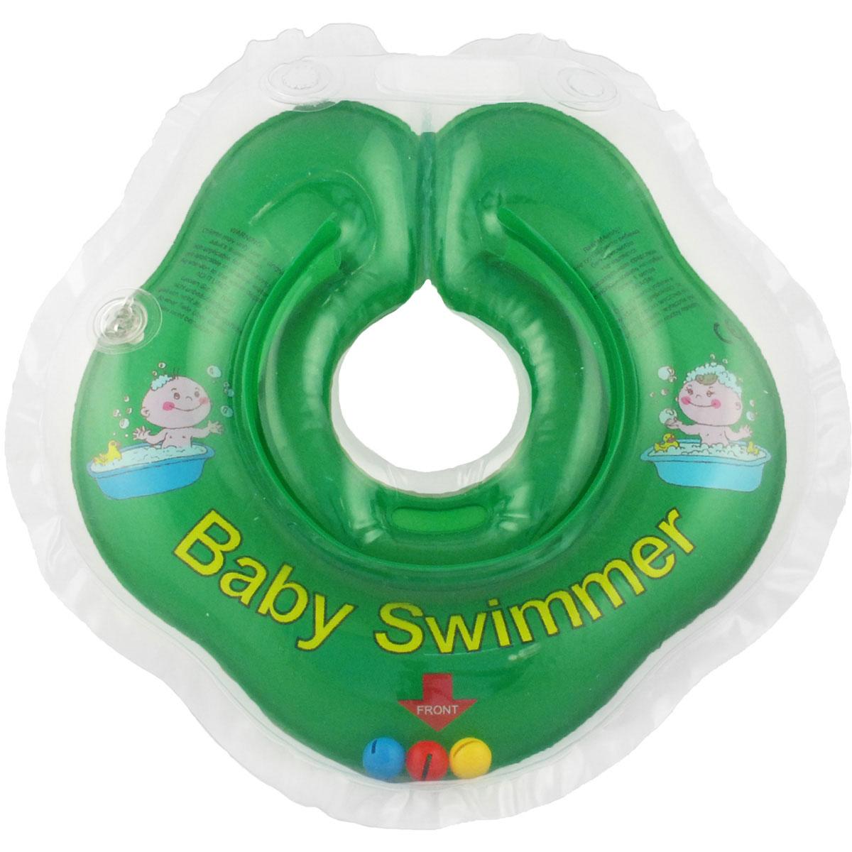 Baby Swimmer Круг на шею с погремушкой цвет зеленый 3-12 кг -  Круги для купания