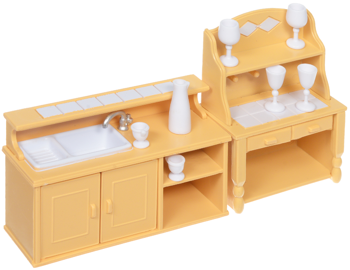 ABtoys Набор мебели для кухни и столовой цвет желтый белый