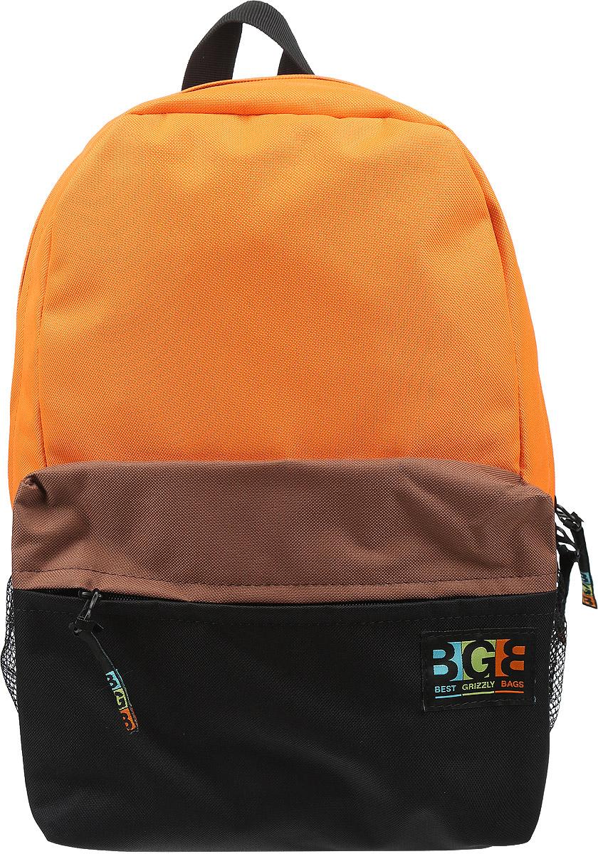 Рюкзак Grizzly, цвет: оранжевый, черный, коричневый. RD-644-2/2NF-40201Яркий рюкзак Grizzly не оставит вас равнодушными. Он выполнен из качественного плотного полиэстера в комбинированных цветах. Рюкзак оформлен фирменной нашивкой на переднем кармане. На лицевой стороне расположен небольшой удобный карман на молнии. С боковых сторон находятся сеточные карманы для переноса бутылок с водой. На тыльной стороне расположен вшитый карман на молнии. Внутри находится основное отделение, в котором расположен открытый карман для мелочей. Рюкзак оснащен удобными лямками, длина которых регулируется с помощью пряжек. Такой качественный и модный рюкзак займет достойное место в вашем гардеробе.