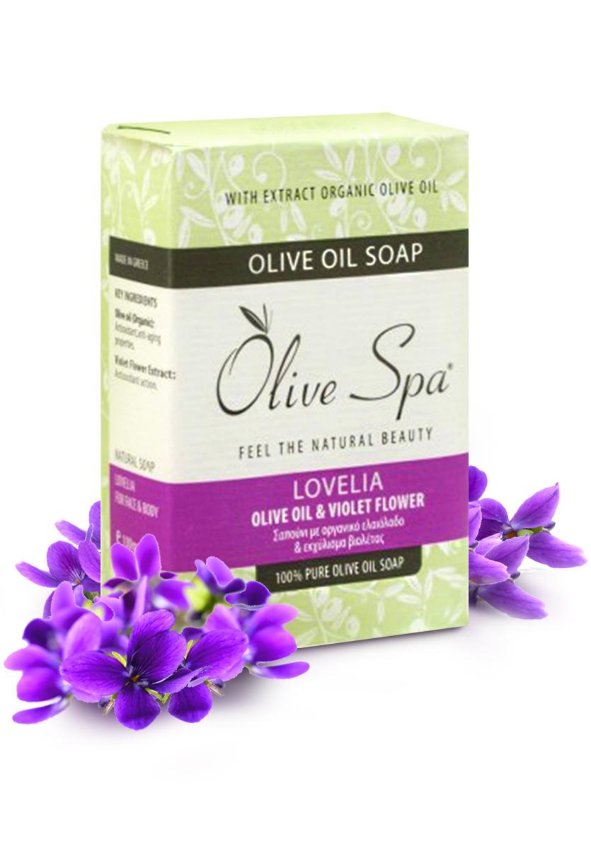 Olive Spa Мыло оливковое натуральное Lovelia с экстрактом цветков фиалки, 100 г9Натуральное мыло для рук и лица, которое сочетает антиоксидантное и омолаживающее действие оливкового масла и антимикробные свойства экстракта фиалки.