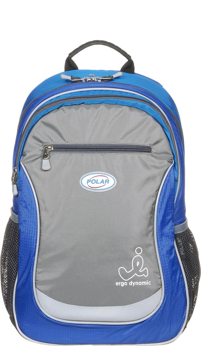 Рюкзак детский городской Polar, 17,5 л, цвет: синий. П0087-04Z90 blackШкольный рюкзак Polar. У рюкзака 2 отделения и несколько карманов для мелких принадлежностей. В большом отделение имеется карман под ноутбук диагональю 14. Спинка эргономичной формы, повторяет контур спины ребенка, тем самым равномерно распределяет нагрузку на позвоночник. Полумягкое дно для безопасности ношения. С обеих сторон имеются карманы для бутылок с водой. Светоотражатели спереди и сзади школьного рюкзака. Гибкая петля для того, чтобы подвесить ранец на крючок. Подходит для 1-6 классов.