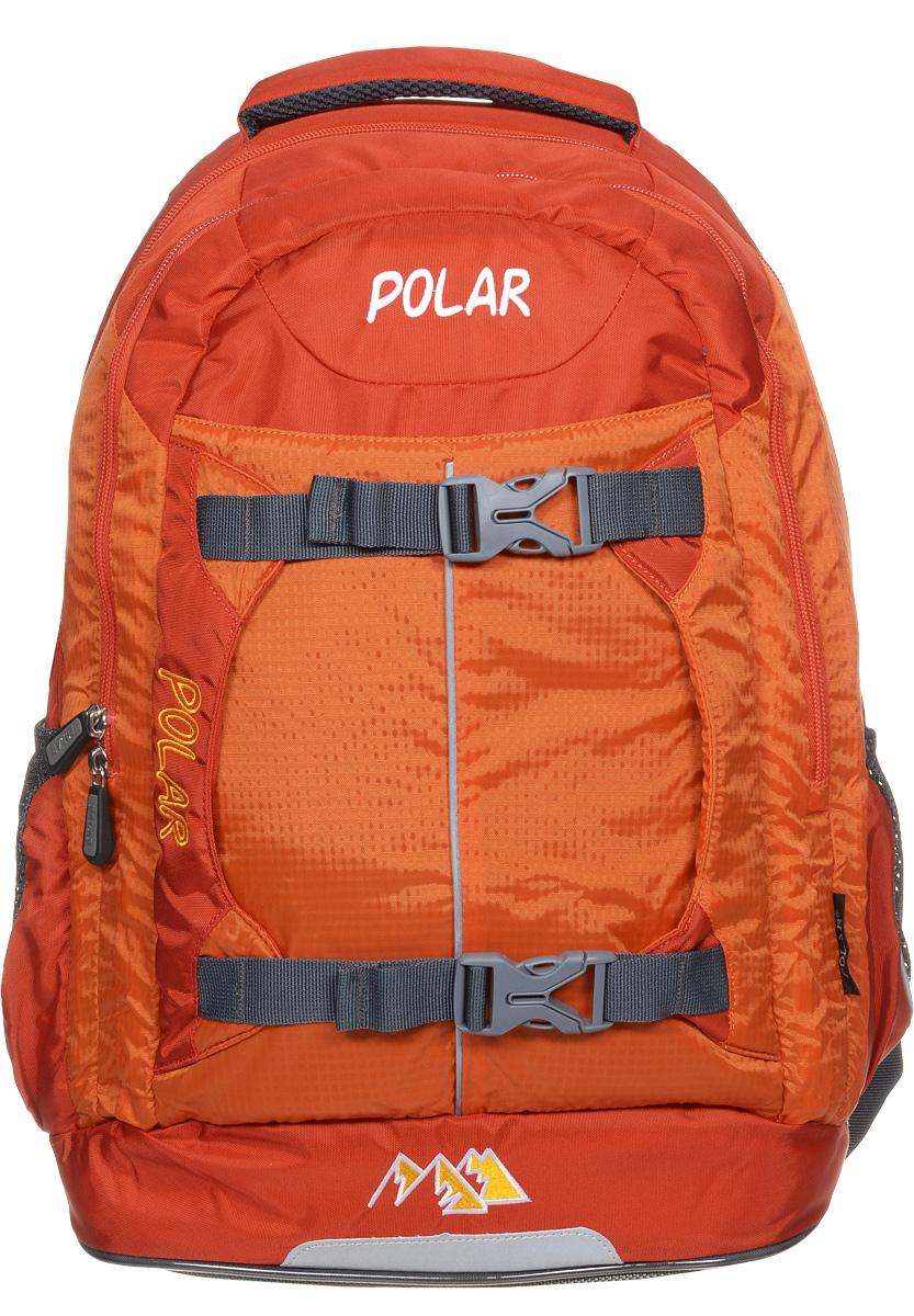 Рюкзак детский городской Polar, 24 л, цвет: оранжевый. П222-02П222-02Рюкзак фирмы Polar изготовлен из ткани с водоотталкивающей пропиткой. Жесткая спинка рюкзака имеет специальные вставки для лучшего воздухообмена. Новая конструкция лямок позволяет регулировать их не только по длине, но и согласно Вашему росту. Специальное крепление в верхней части каждой лямки поможет отрегулировать их так, что рюкзак сможет носить как взрослый, так и ребенок, не создавая дискомфорта для спины. Жесткое дно делает рюкзак устойчивым и дополняет удобством при ношении.