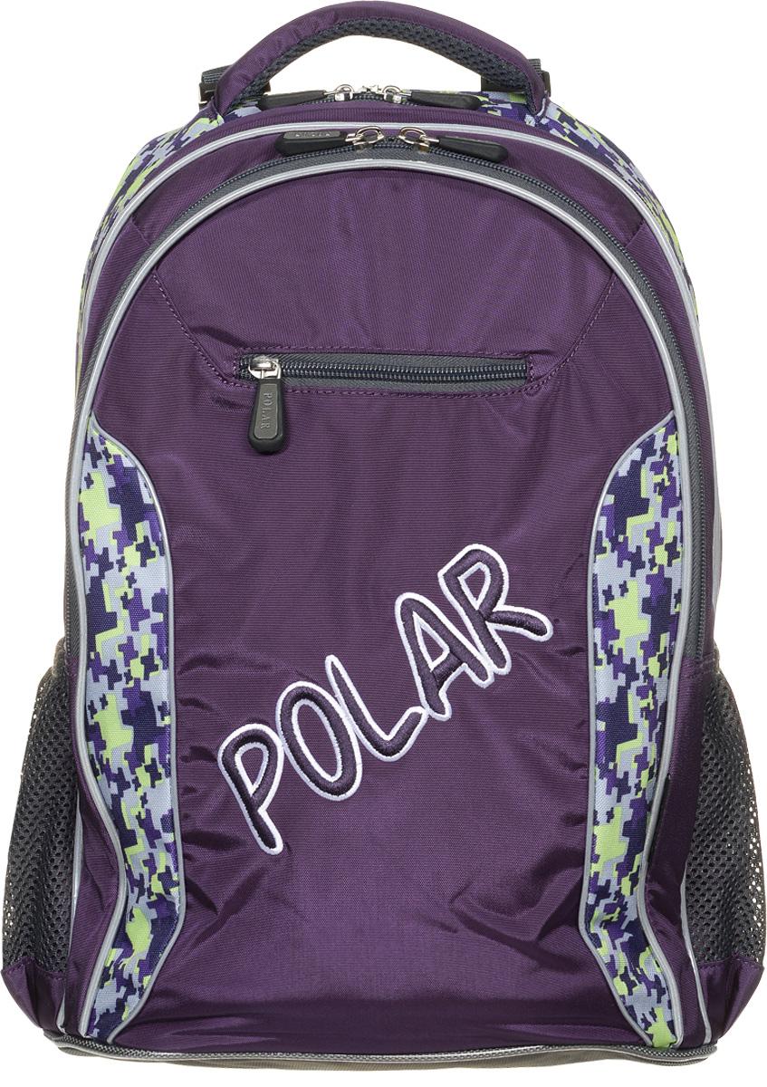 Рюкзак детский городской Polar, 26 л, цвет: фиолетовый. П0082-29BP-001 BKШкольный рюкзак Polar. У рюкзака 2 отделения и несколько карманов для мелких принадлежностей. В большом отделение имеется карман под ноутбук диагональю 14. Спинка эргономичной формы, повторяет контур спины ребенка, тем самым равномерно распределяет нагрузку на позвоночник. Полумягкое дно для безопасности ношения. С обеих сторон имеются карманы для бутылок с водой. Светоотражатели спереди и сзади школьного рюкзака. Гибкая петля для того, чтобы подвесить ранец на крючок. Подходит для 1-6 классов.